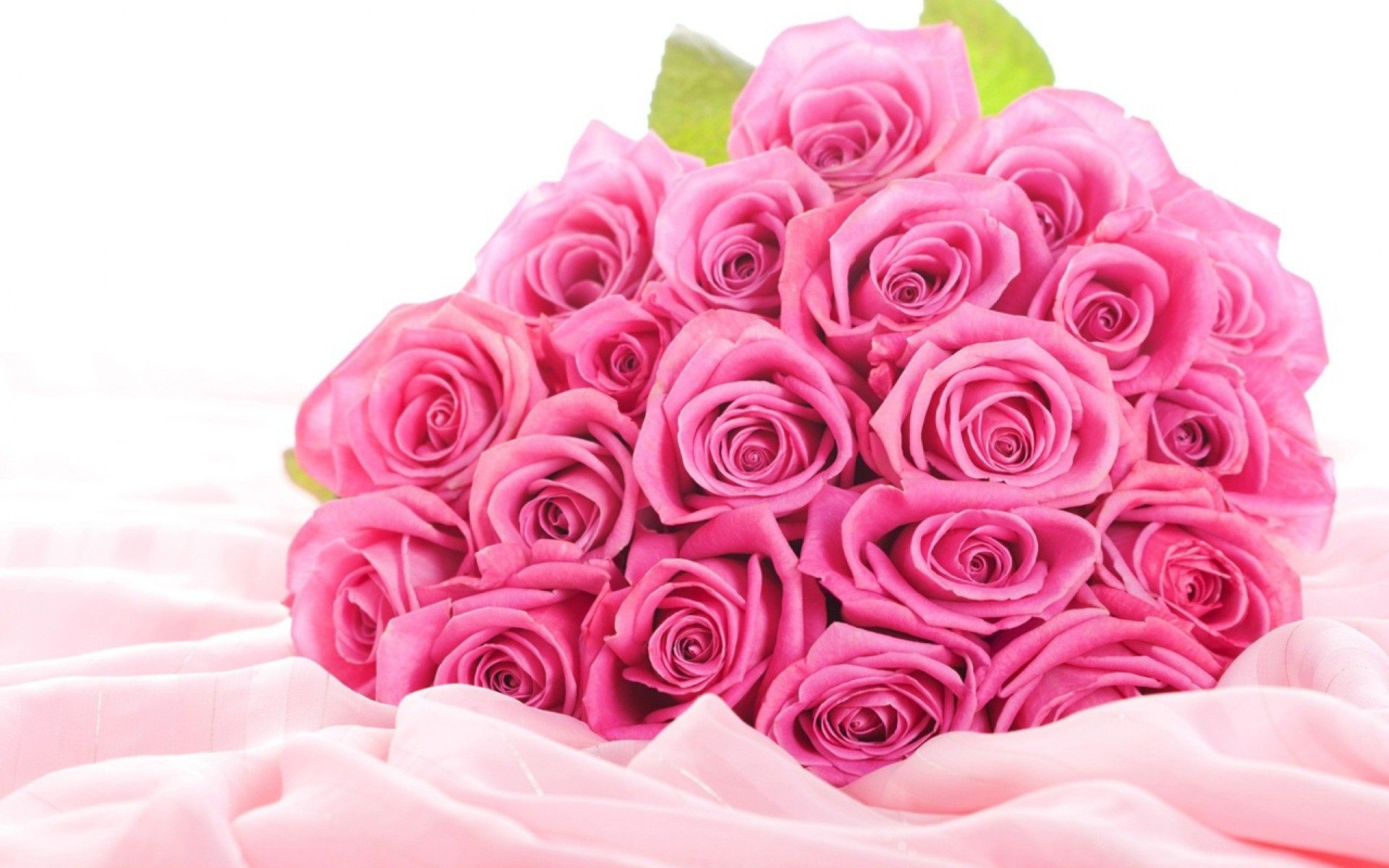 a large bouquet of pink roses on white fabric
