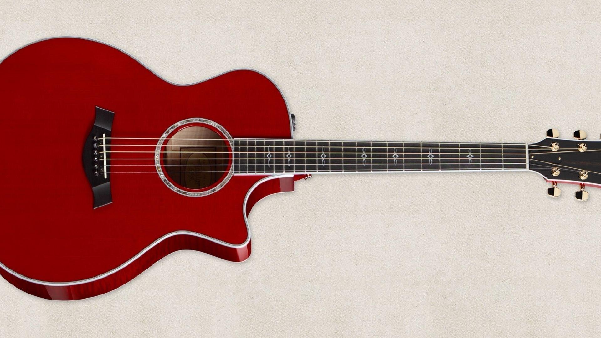 Acoustic Guitar Red, Desktop Wallpaper