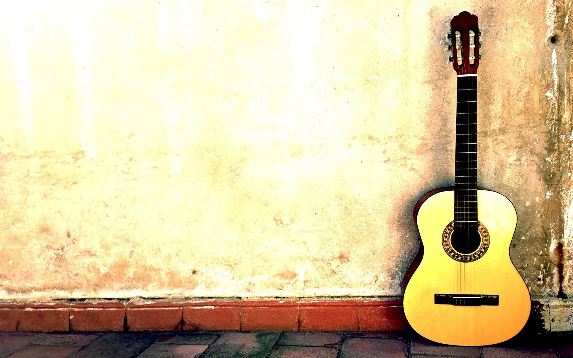 Acoustic Guitar Yellow, Background Wallpaper