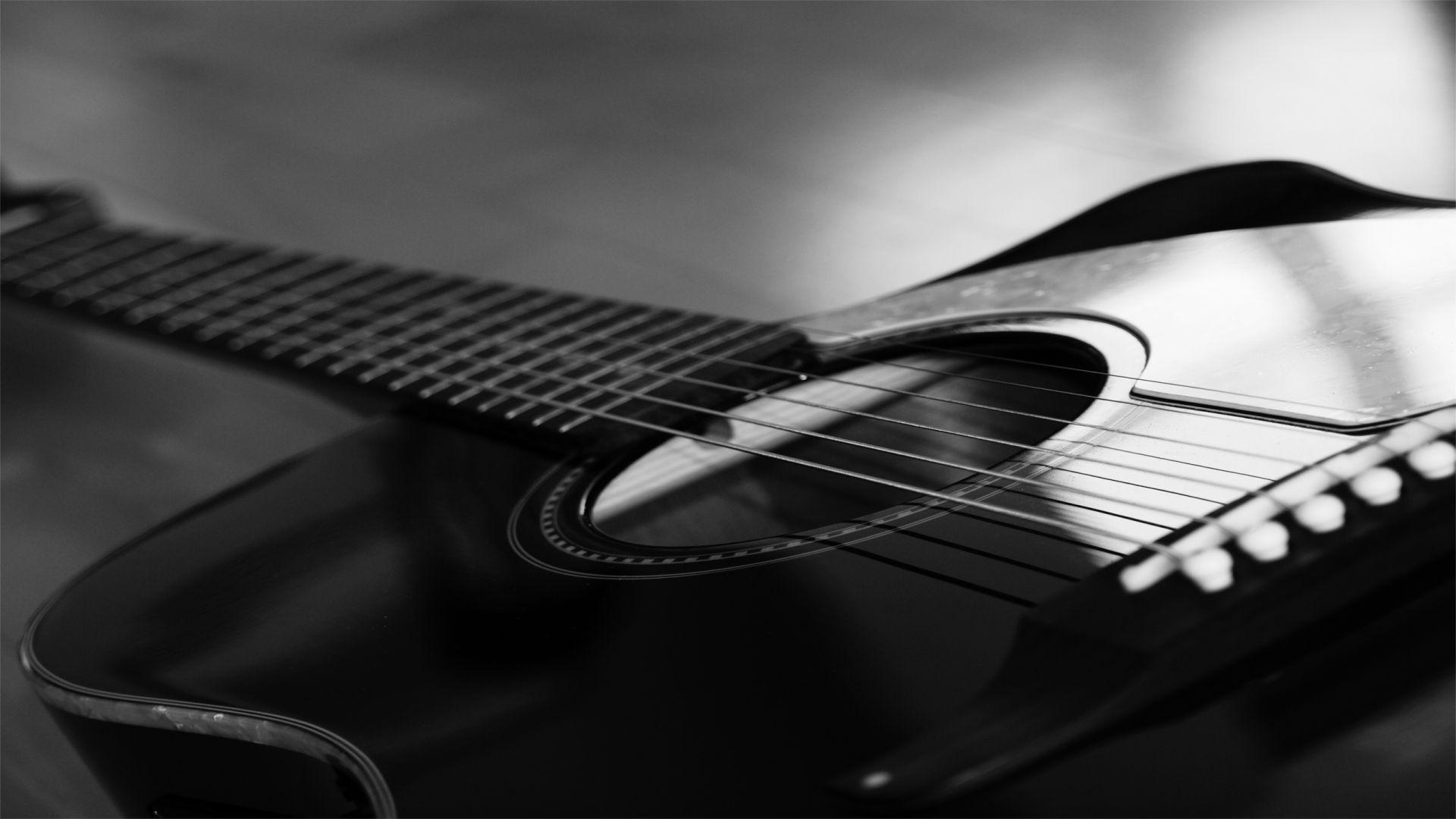 Acoustic Guitar Black, Download Wallpaper