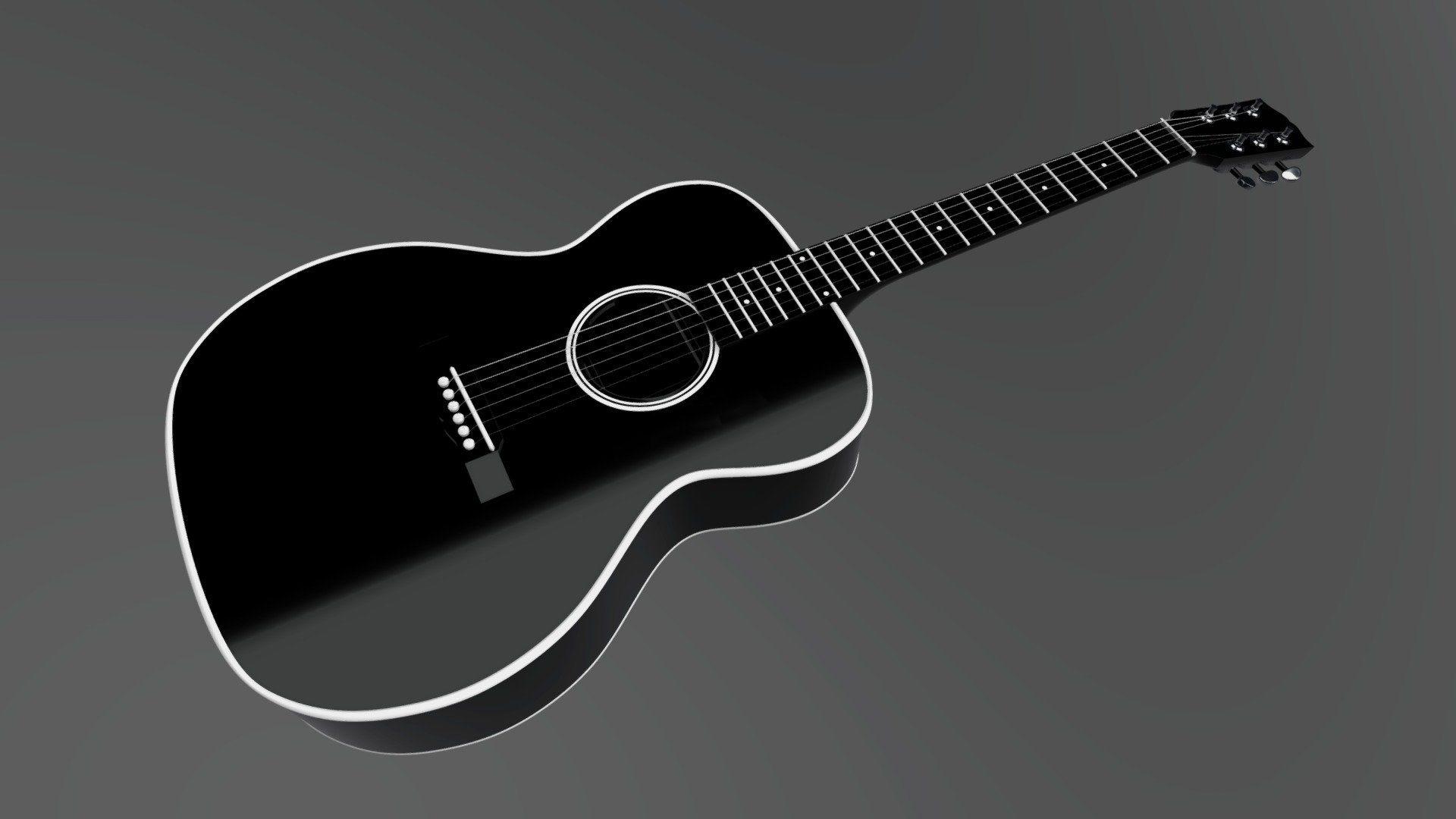 Acoustic Guitar Black, Computer Wallpaper