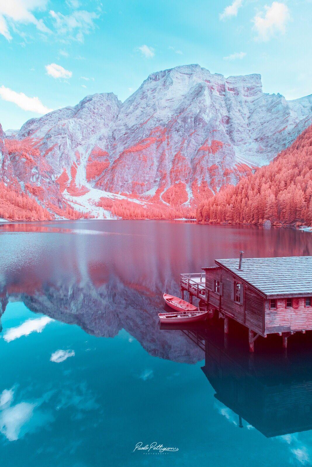 dolomite mountains italy image lake