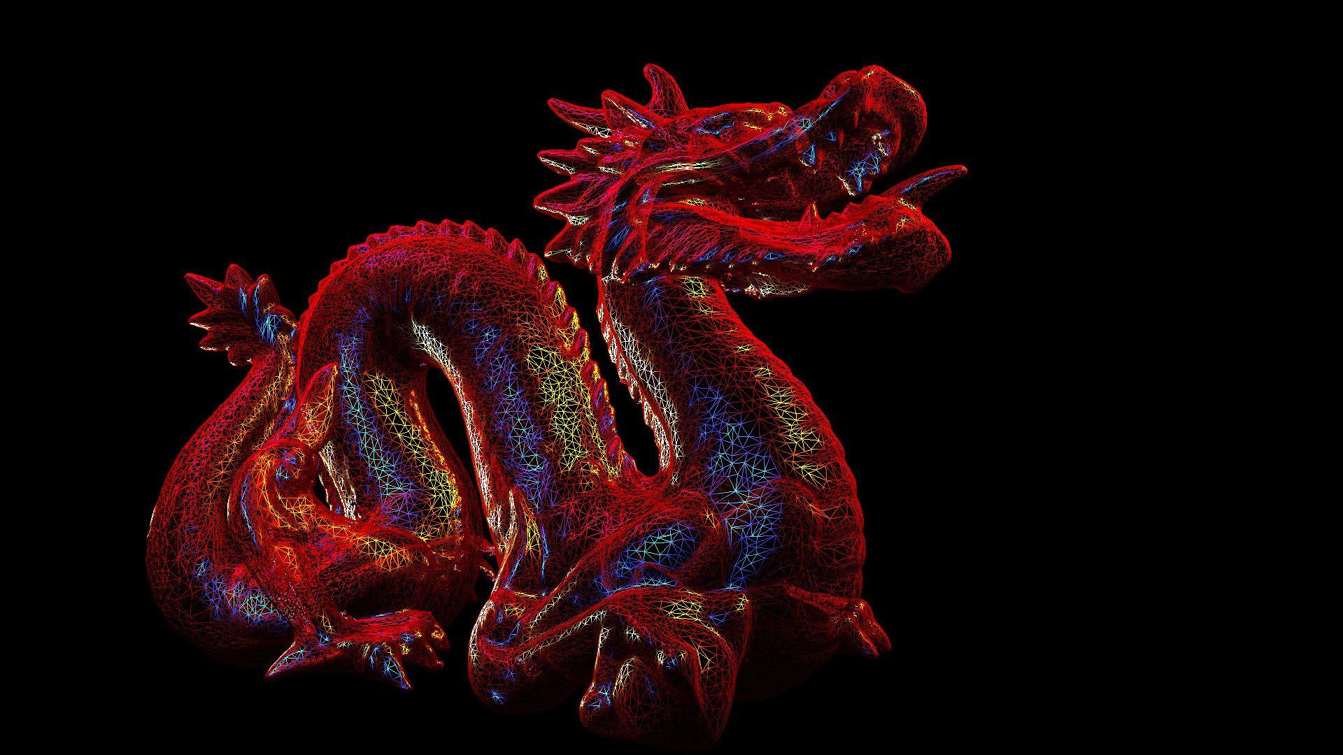 asian dragon 3d model red