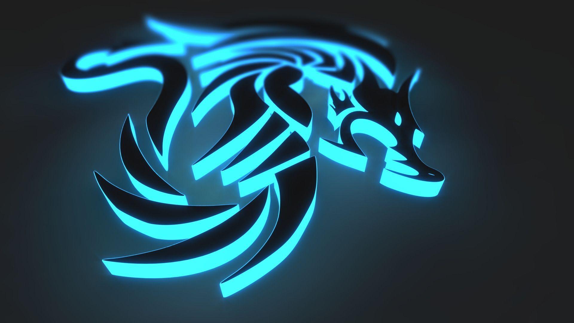 blue metal 3d dragon model wallpaper
