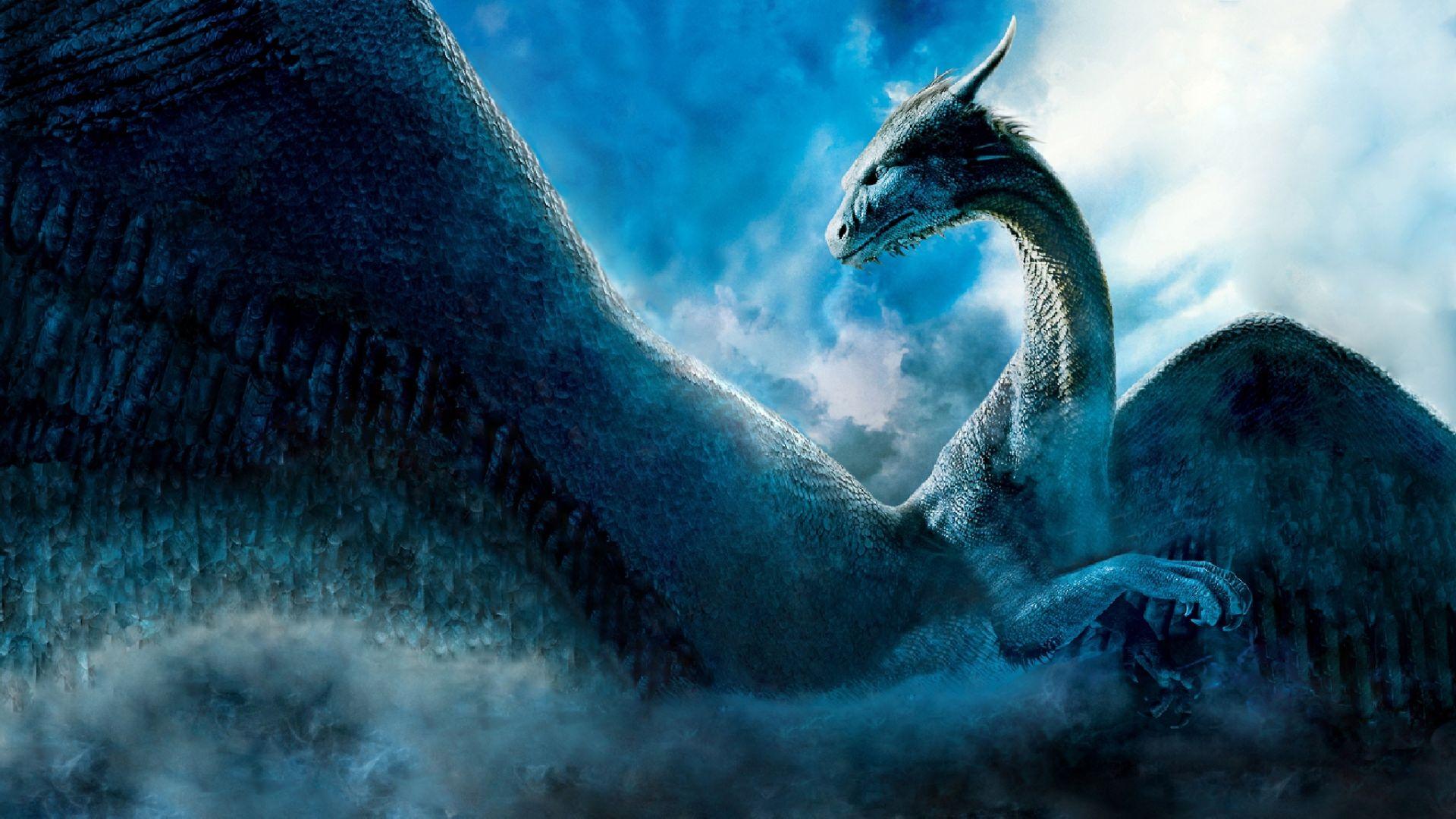 fantasy blue dragon 3d art