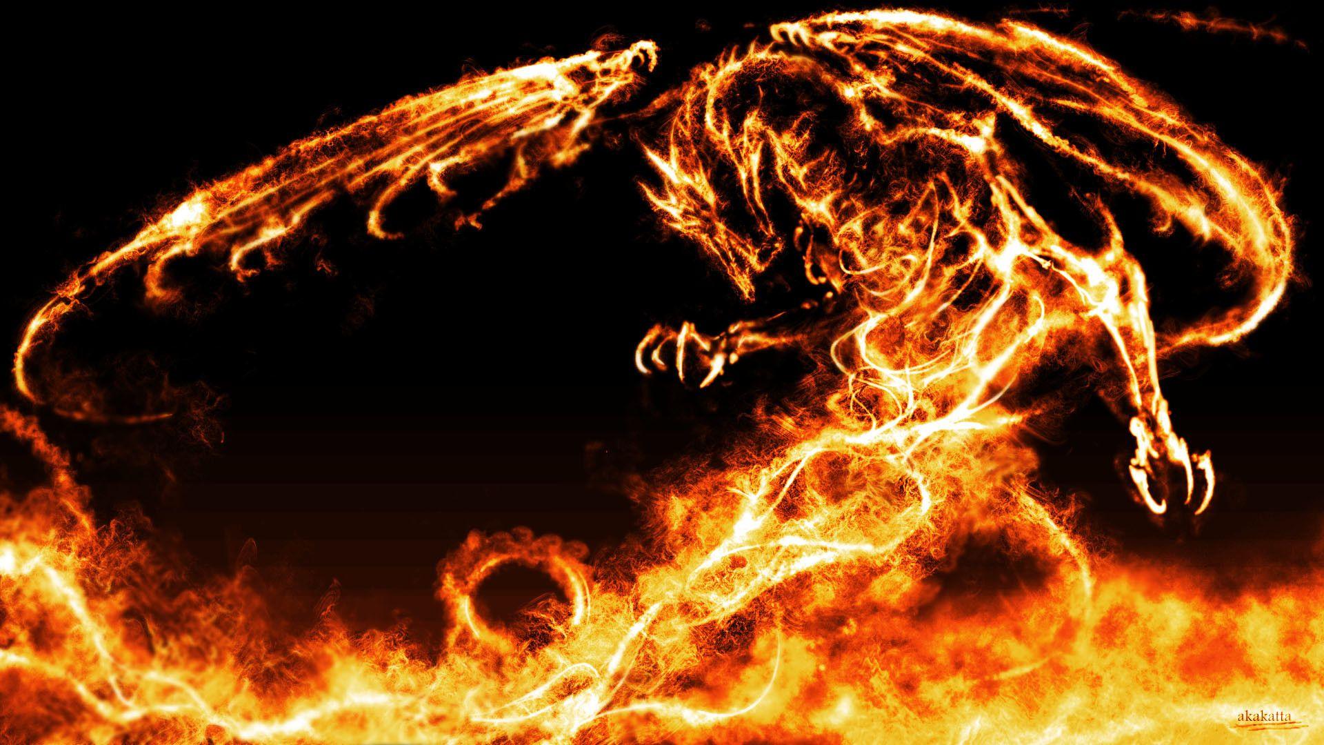 red fire dragon desktop
