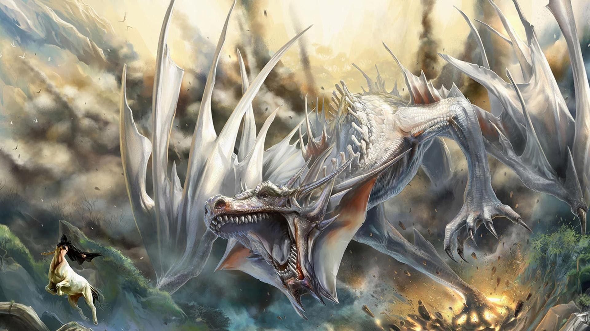 white dragon roar wallpaper