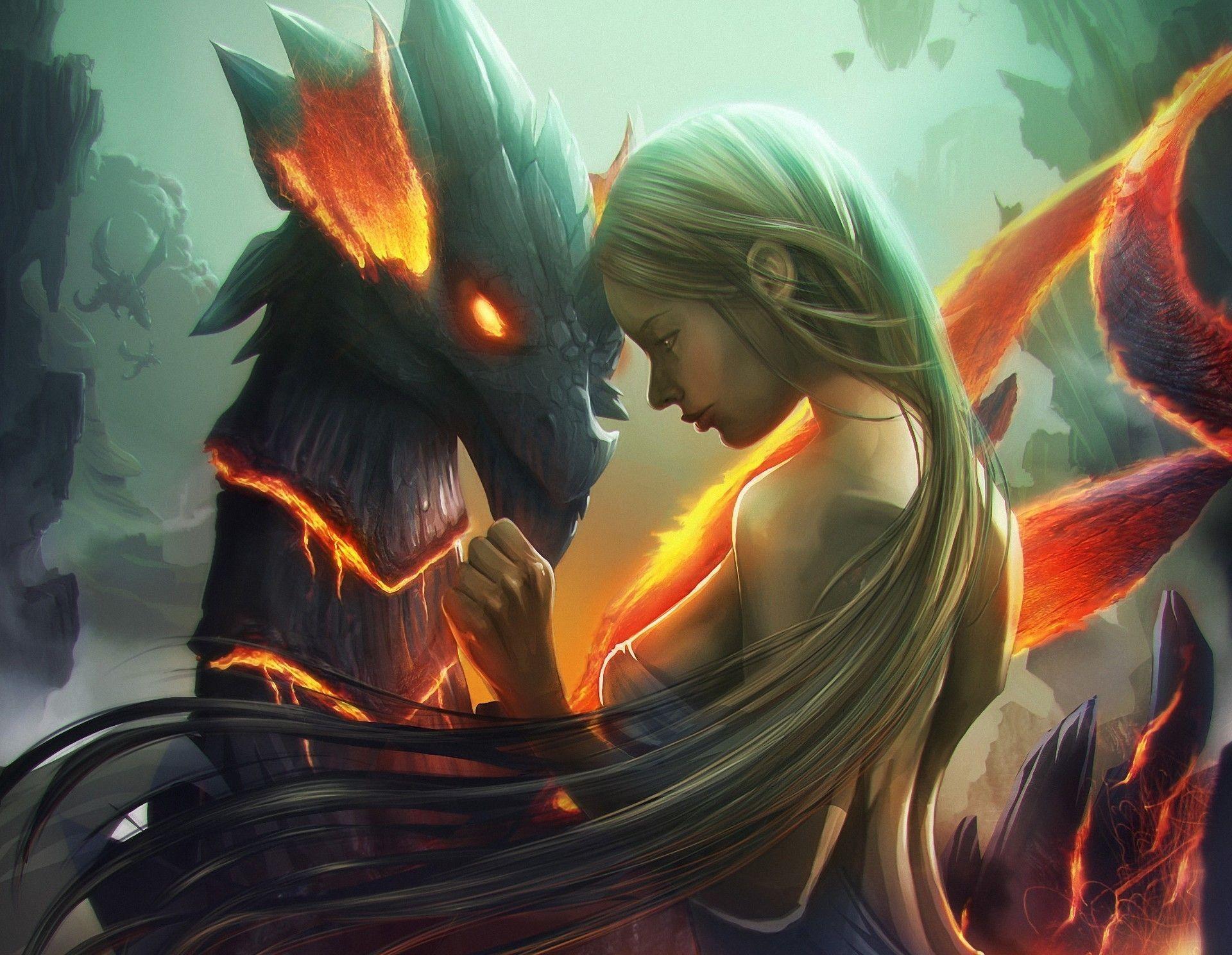 dragon and girl art