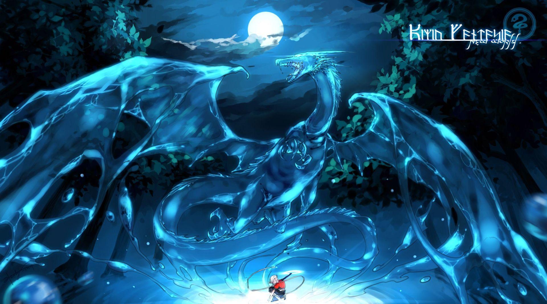 wallpaper blue dragon