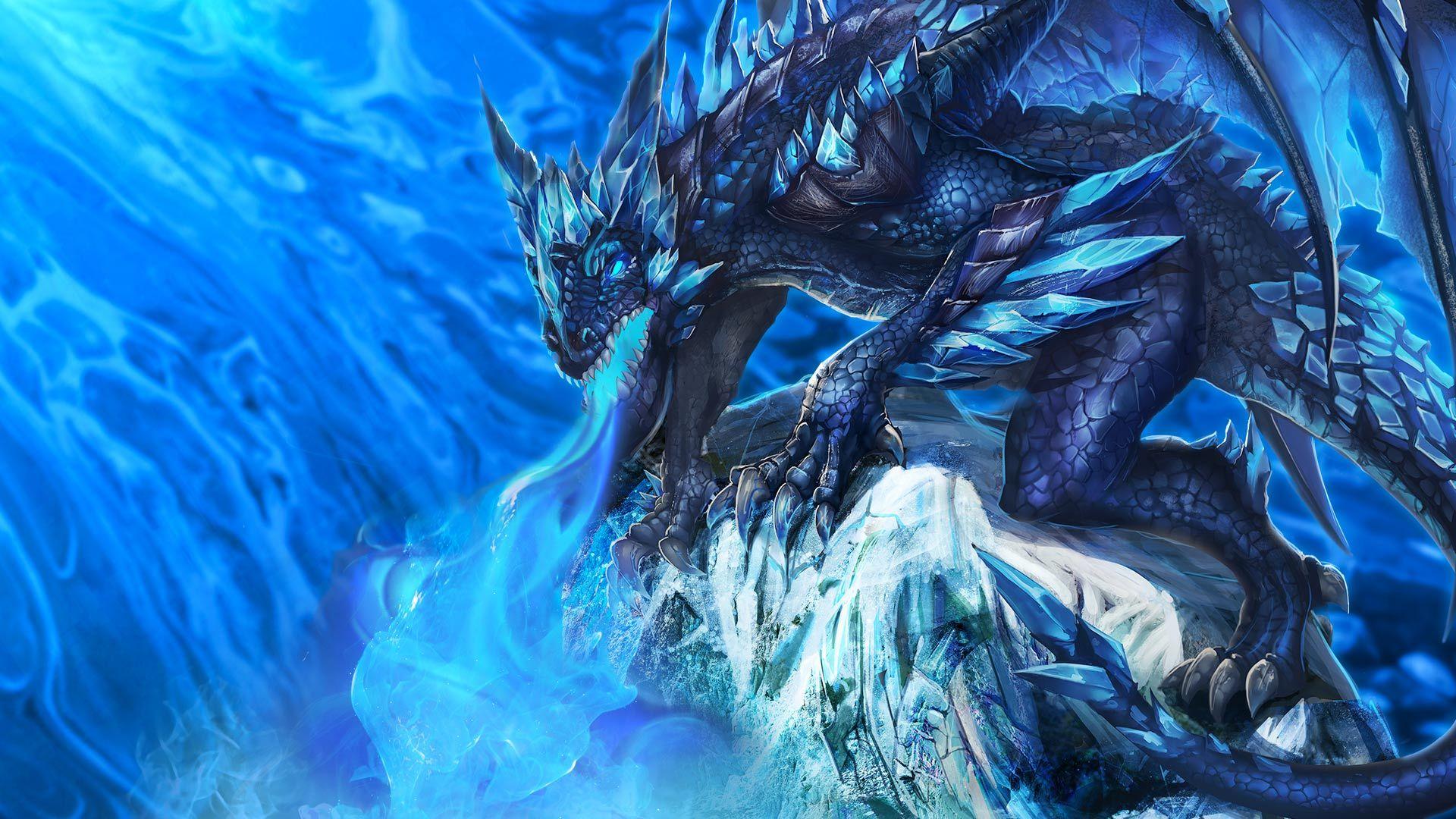 fantasy blue dragon wallpaper hd