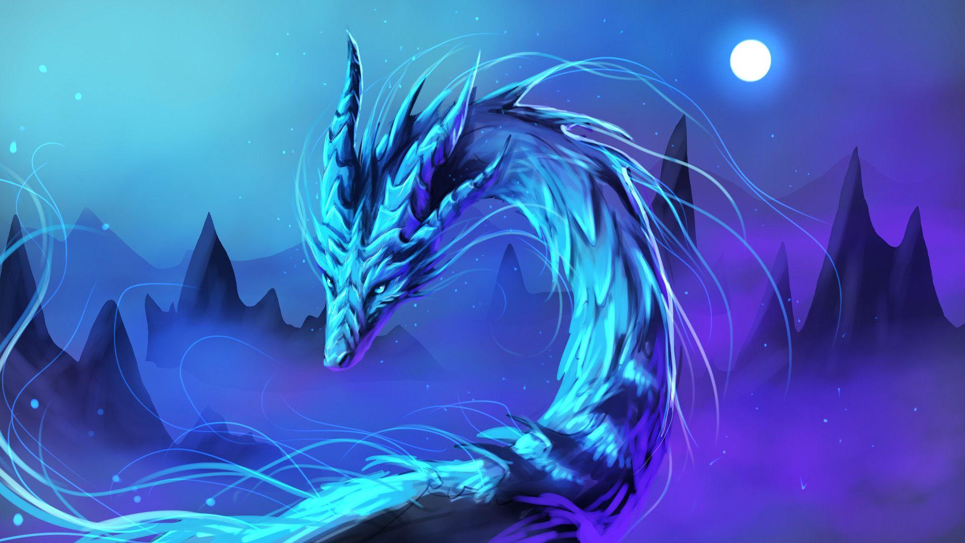 blue dragon fantasy background