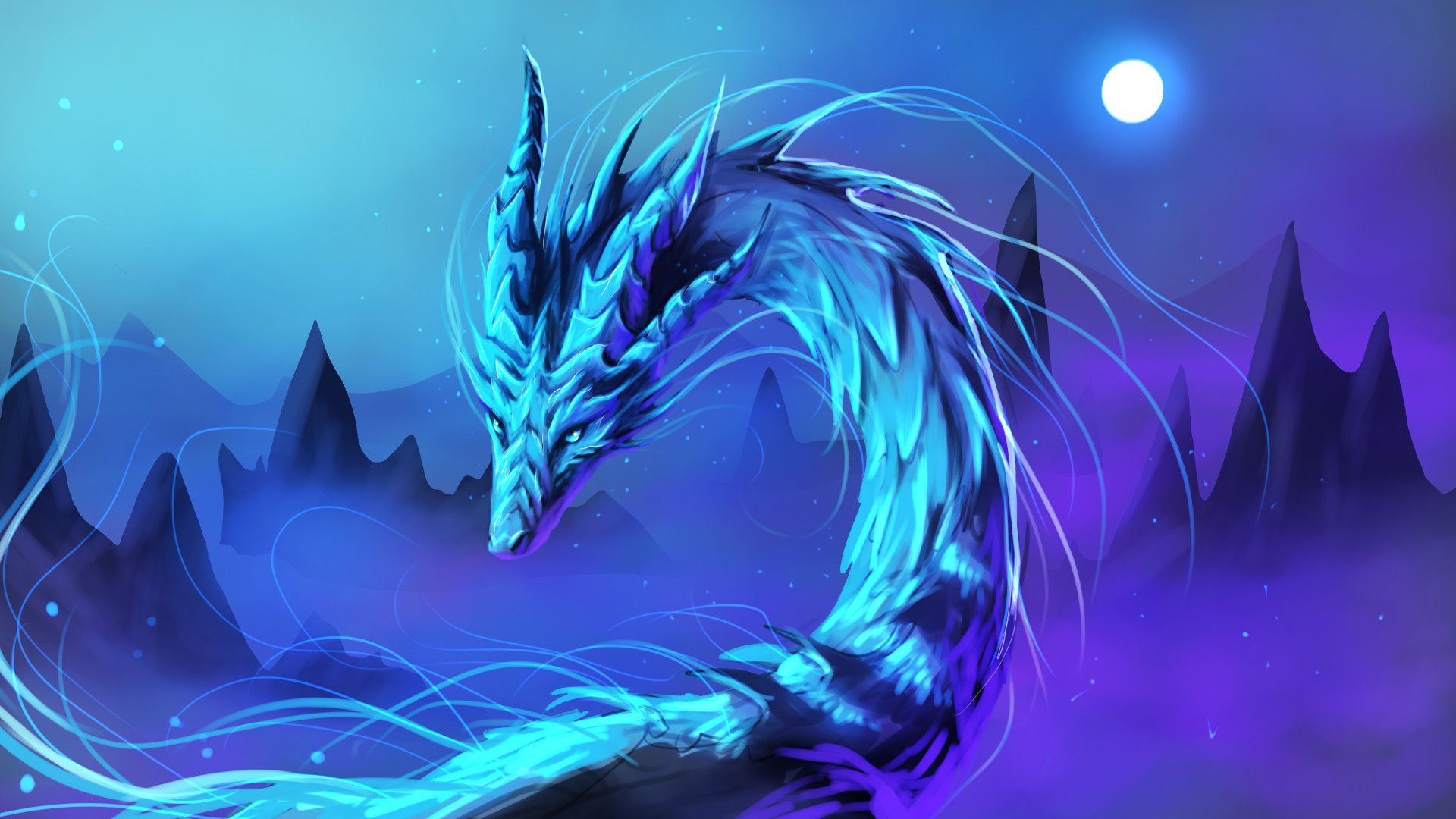 cute dragon blue wallpaper