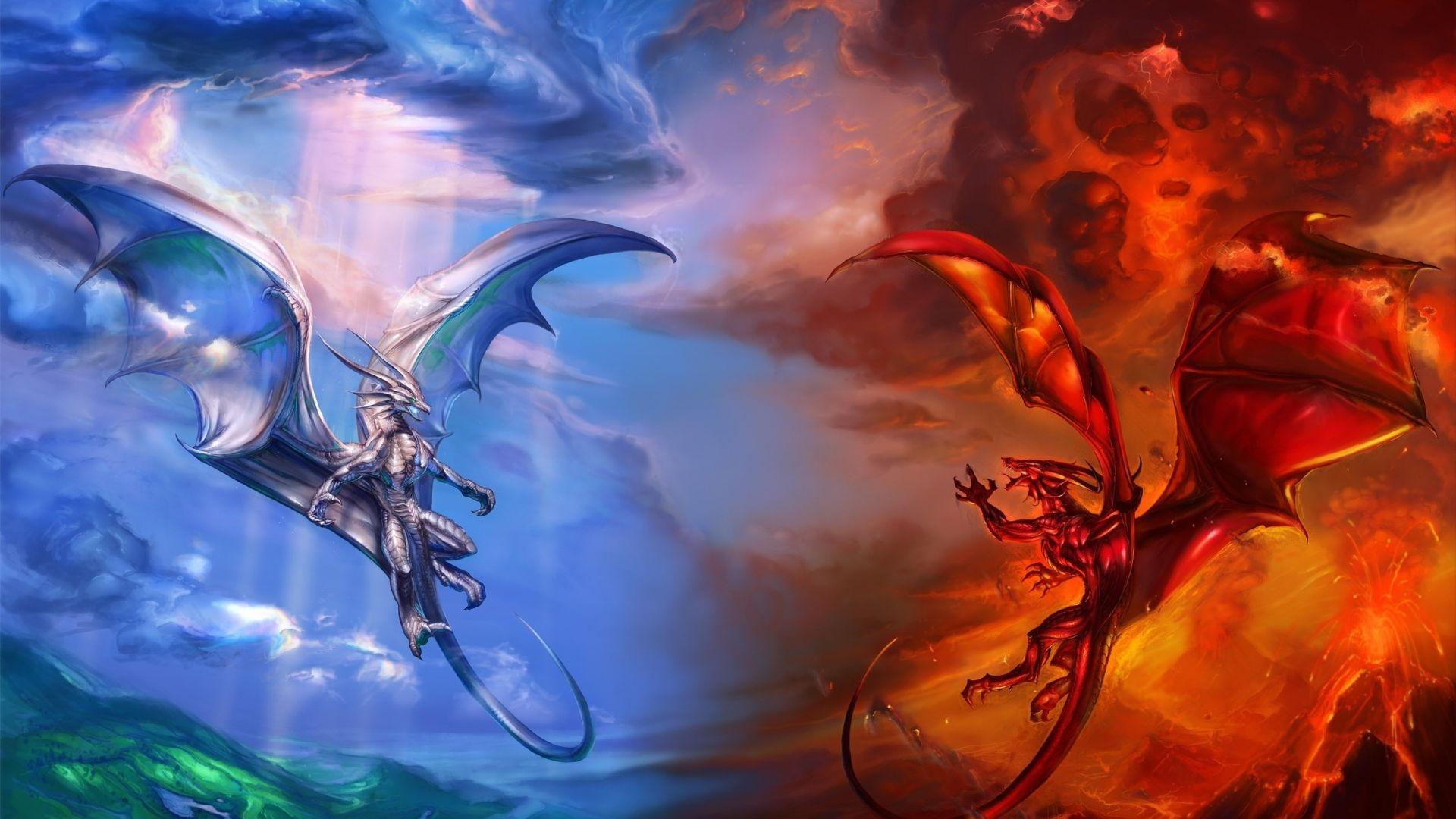 dragon battle wallpaper