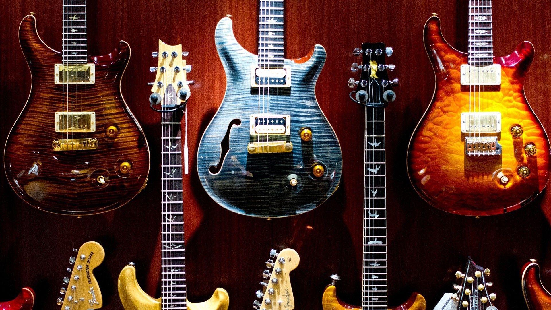 Electric Guitar red blue orange yellow, Download Wallpaper