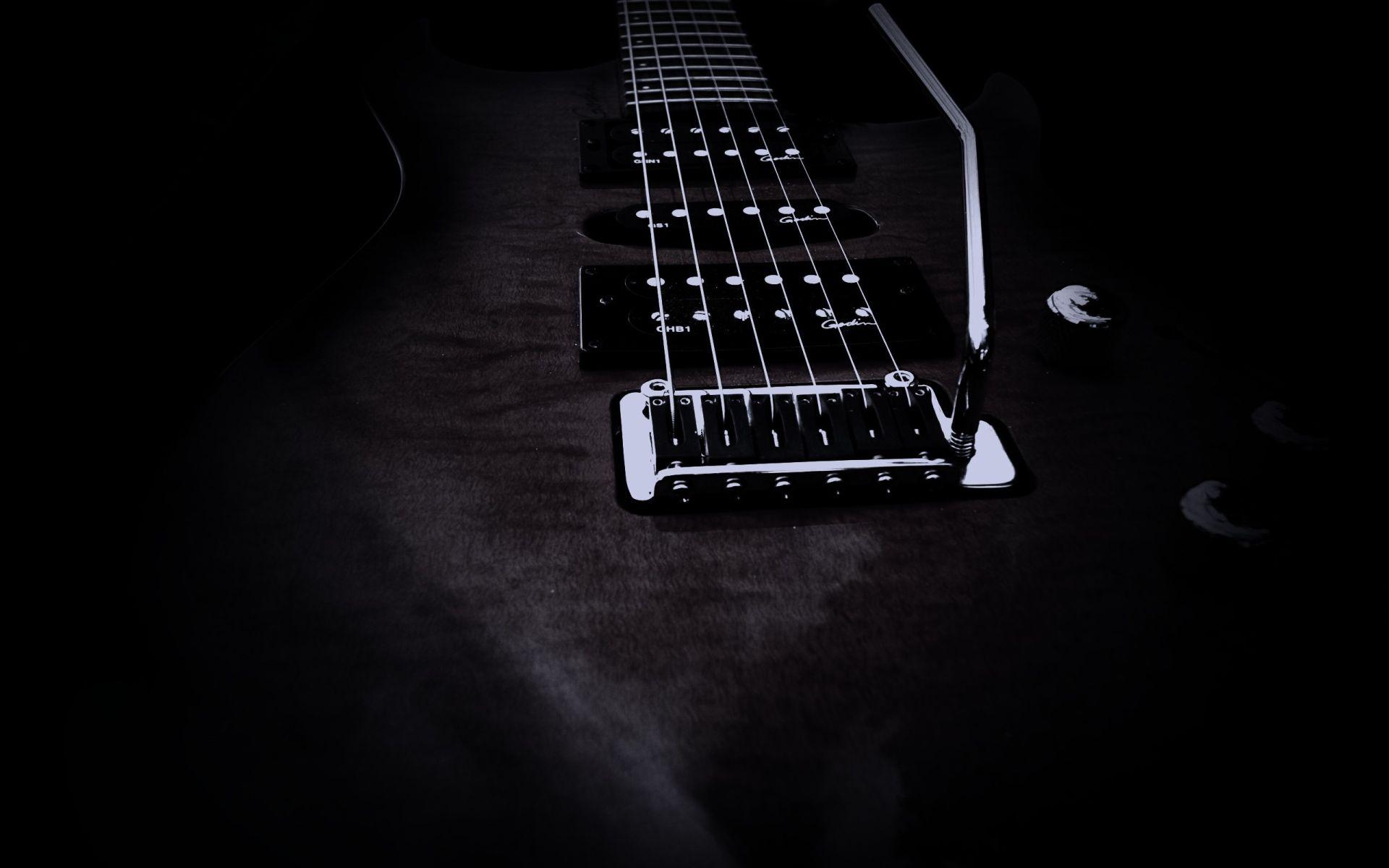 Electric Guitar black strings, Wallpaper Image