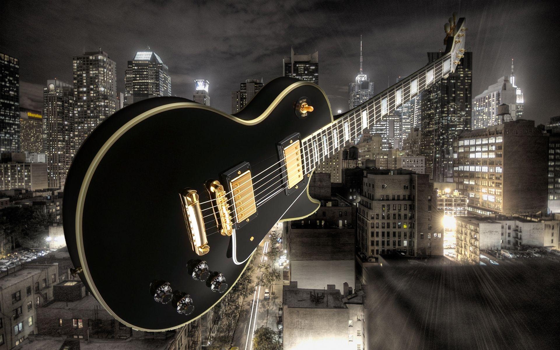 Electric Guitar black, Desktop Wallpaper