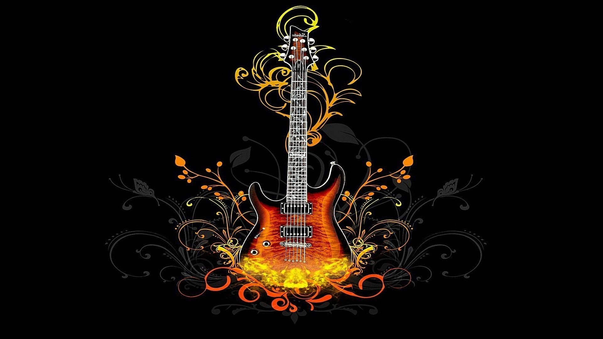 Fire Guitar, PC Wallpaper HD