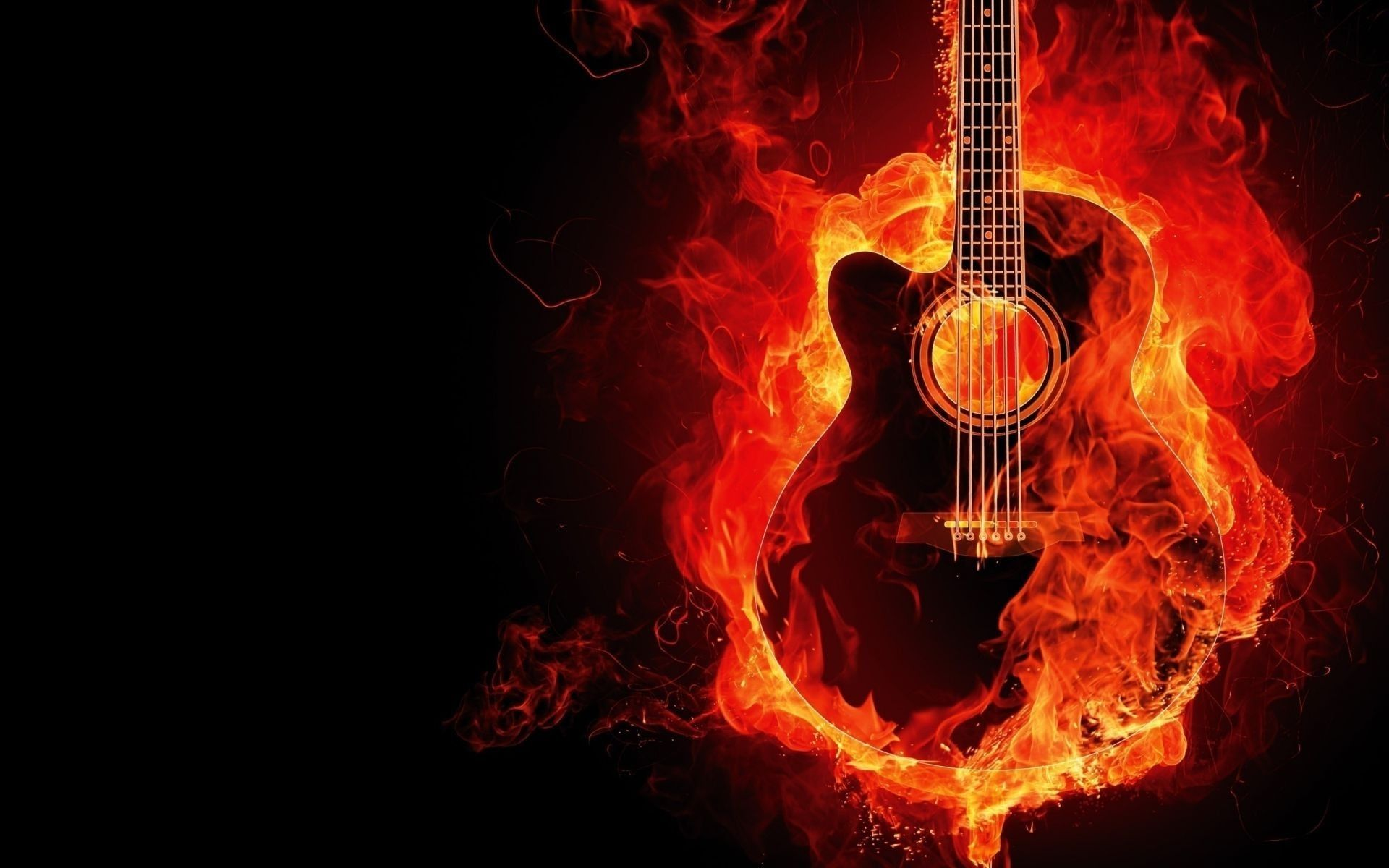 Fire Guitar, Desktop Wallpaper