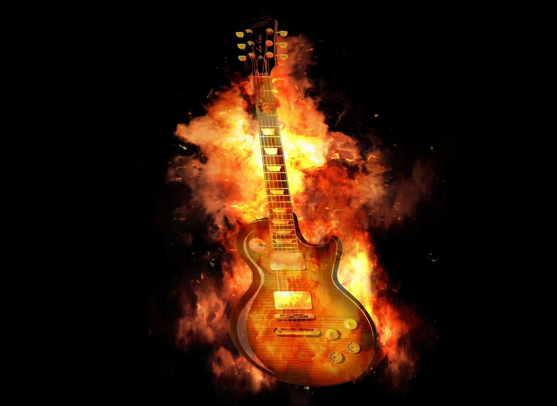 Fire Guitar, Free Download Wallpaper
