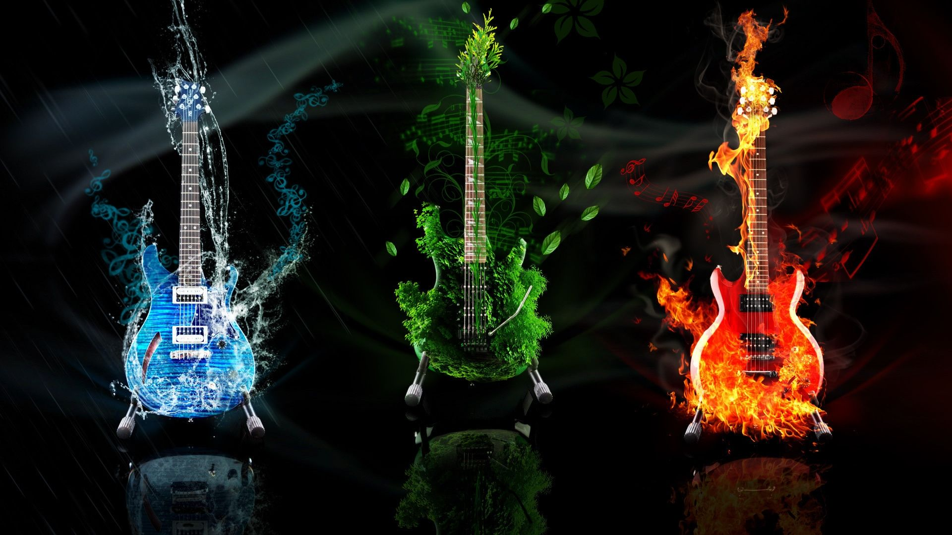 Fire Guitar, Cool Wallpaper