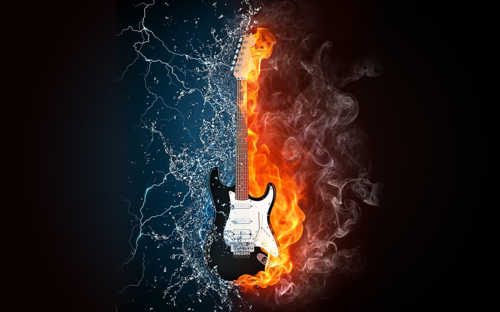 Fire Guitar, Download Wallpaper
