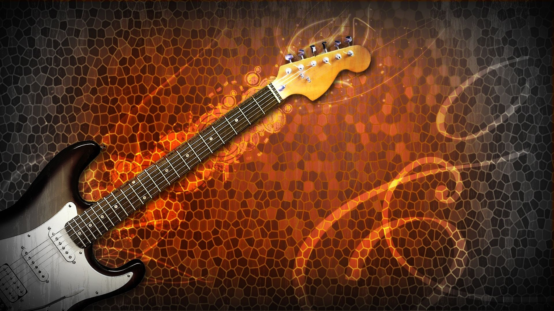 Fire Guitar, Computer Wallpaper