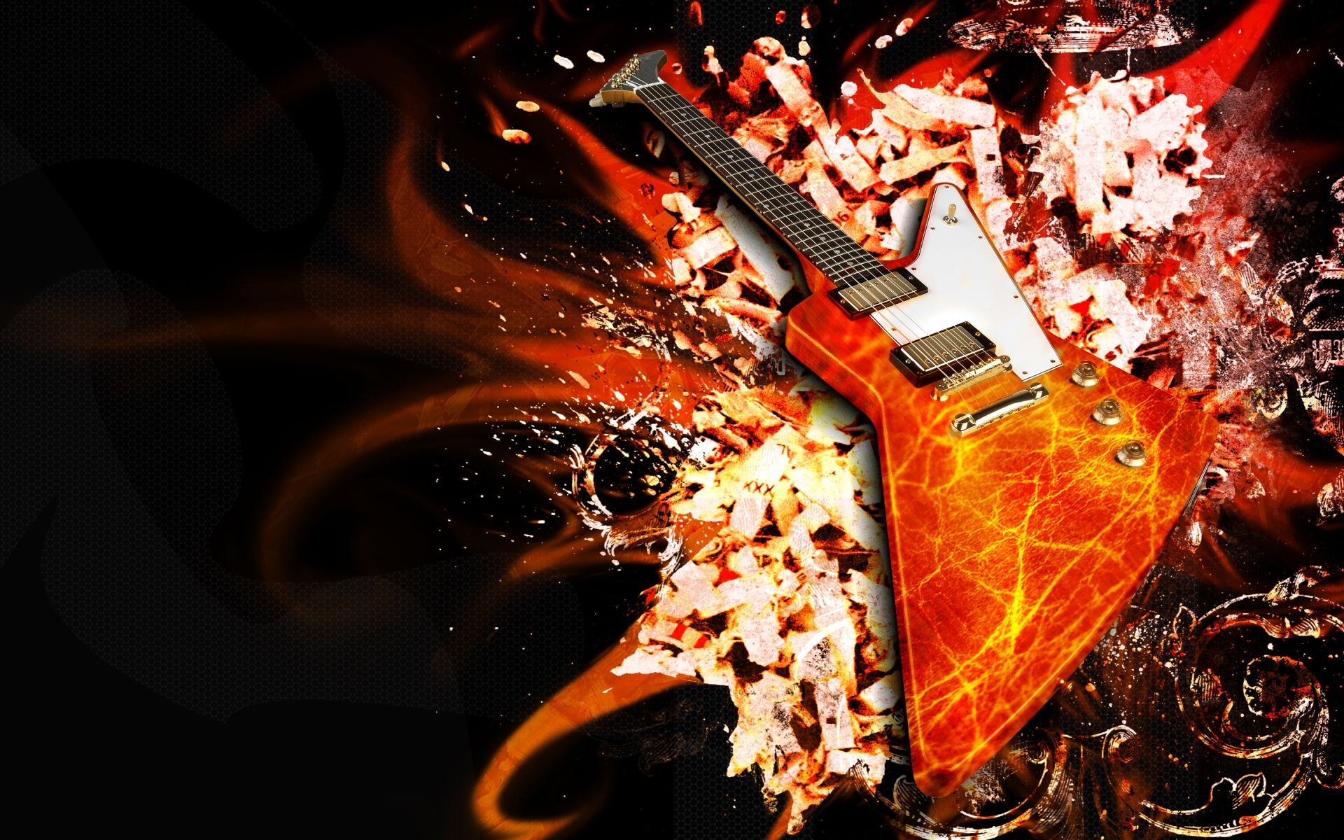 Fire Guitar, Background Wallpaper HD