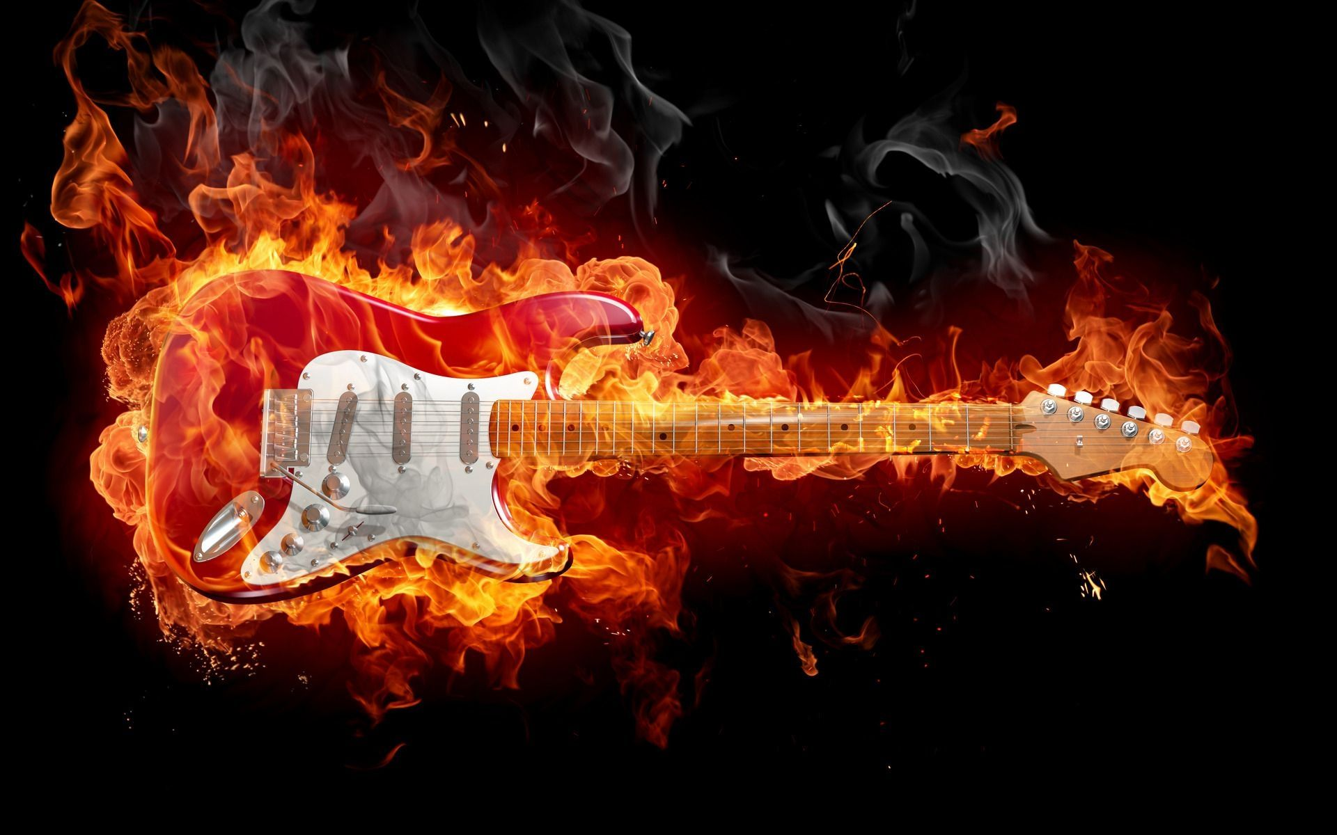 Fire Guitar, HD Desktop Wallpaper