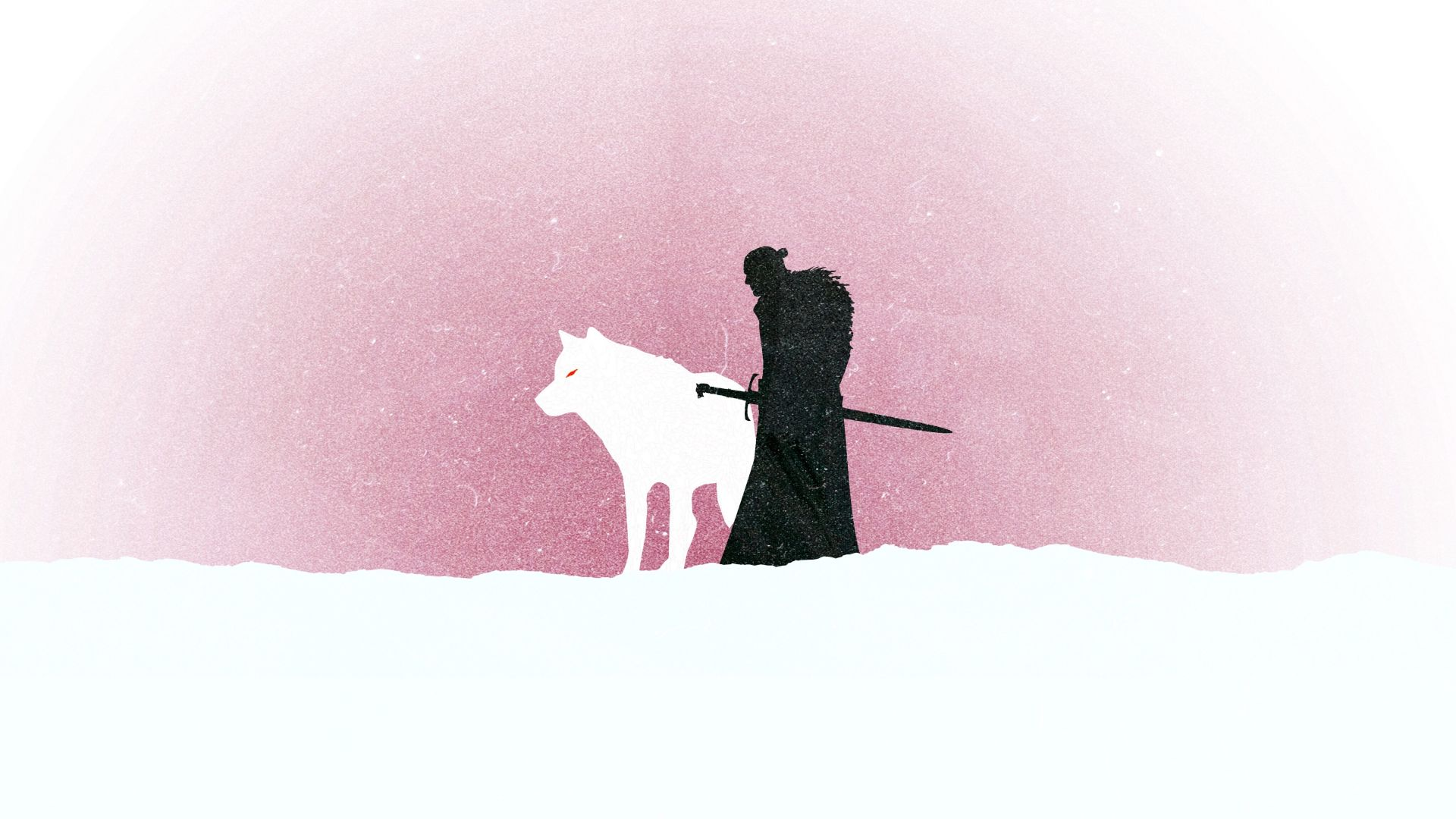 Jon Snow and wolf, Game of Thrones