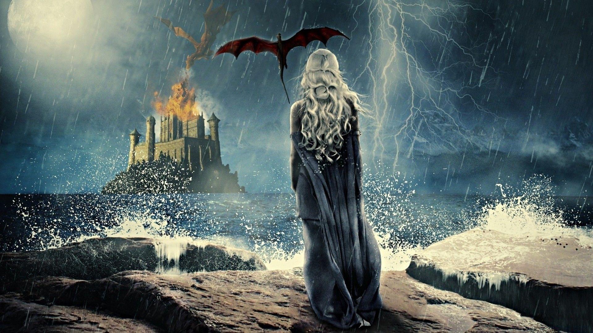 Game of Thrones Daenerys Targaryen with dragon in rain fan art