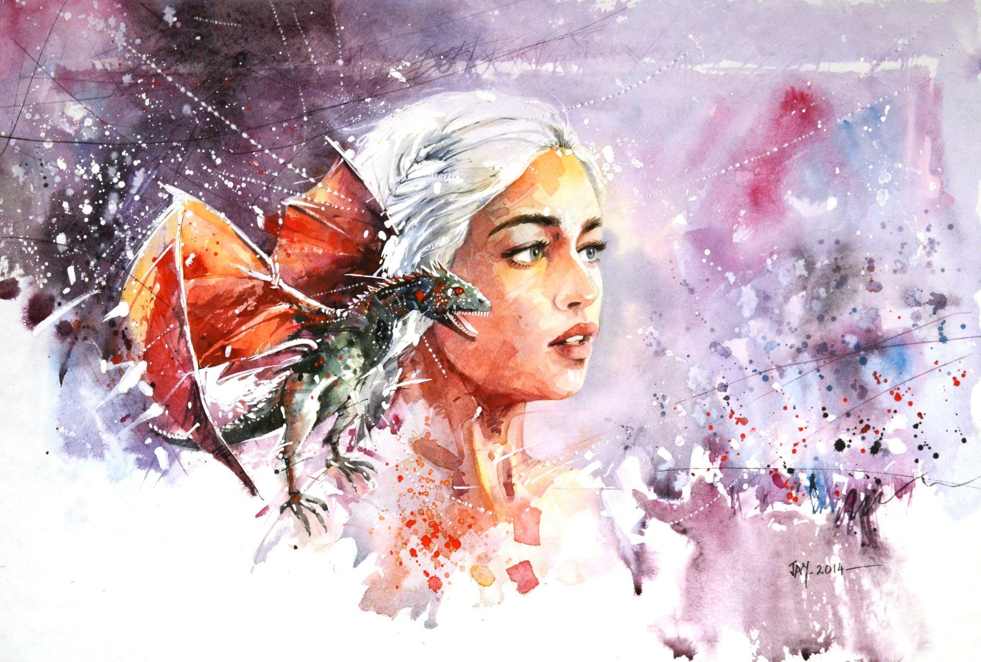 Daenerys Targaryen with dragon cool fan art