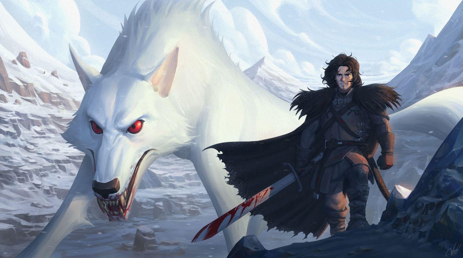 Jon Snow and wolf fan art