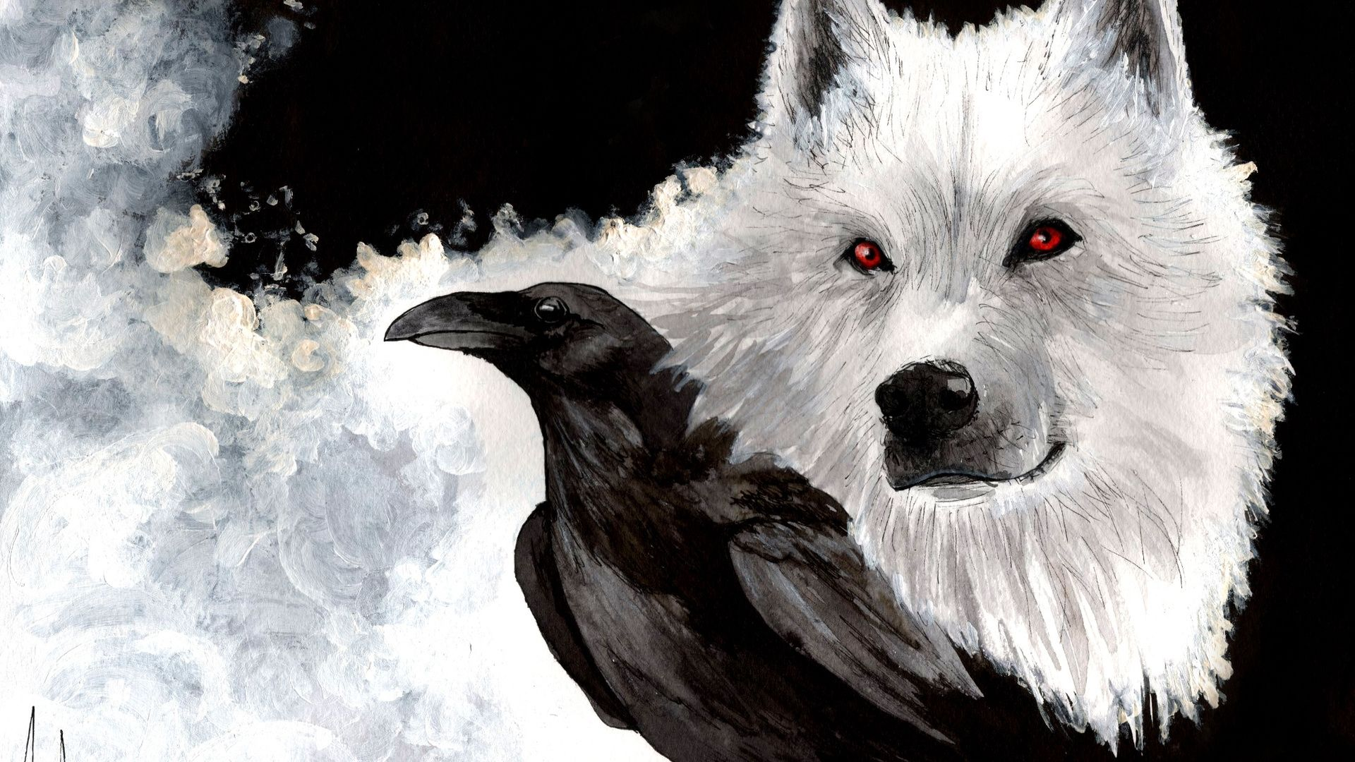 Fanart Game of Thrones Wolf and Three Eyed Raven