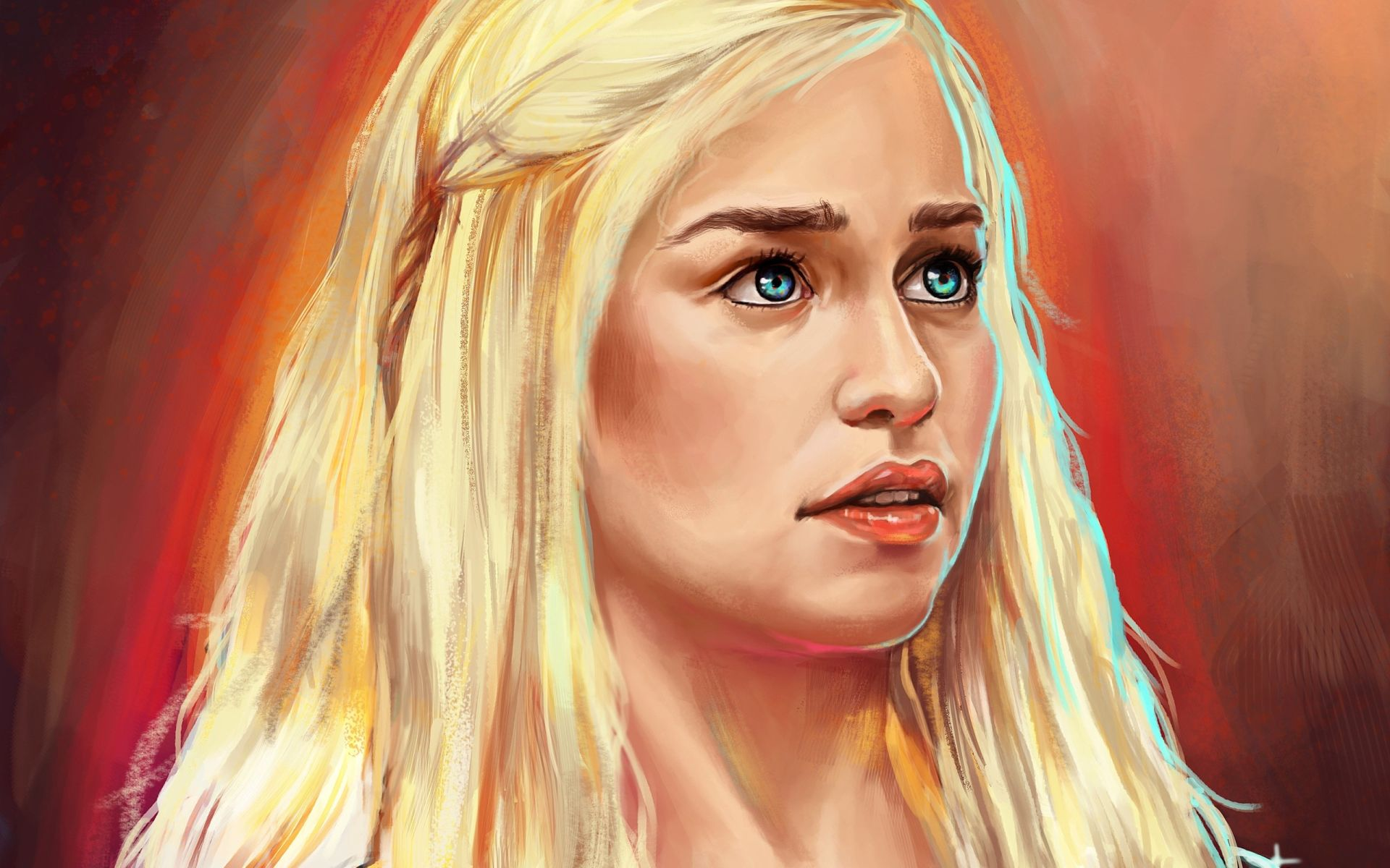 Game of Thrones Daenerys Targaryen face fan art
