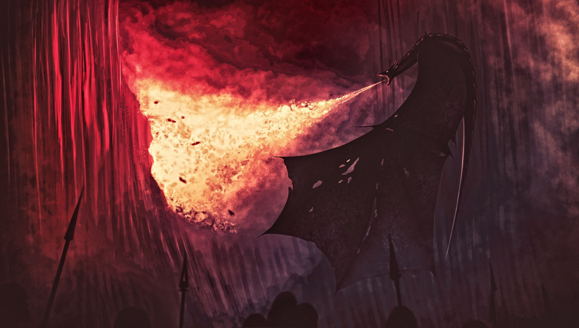 Game of Thrones wall and dragon fire fan art