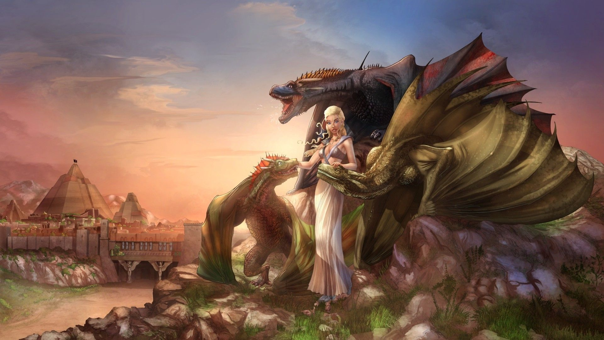 Game of Thrones Daenerys Targaryen with dragon fan art