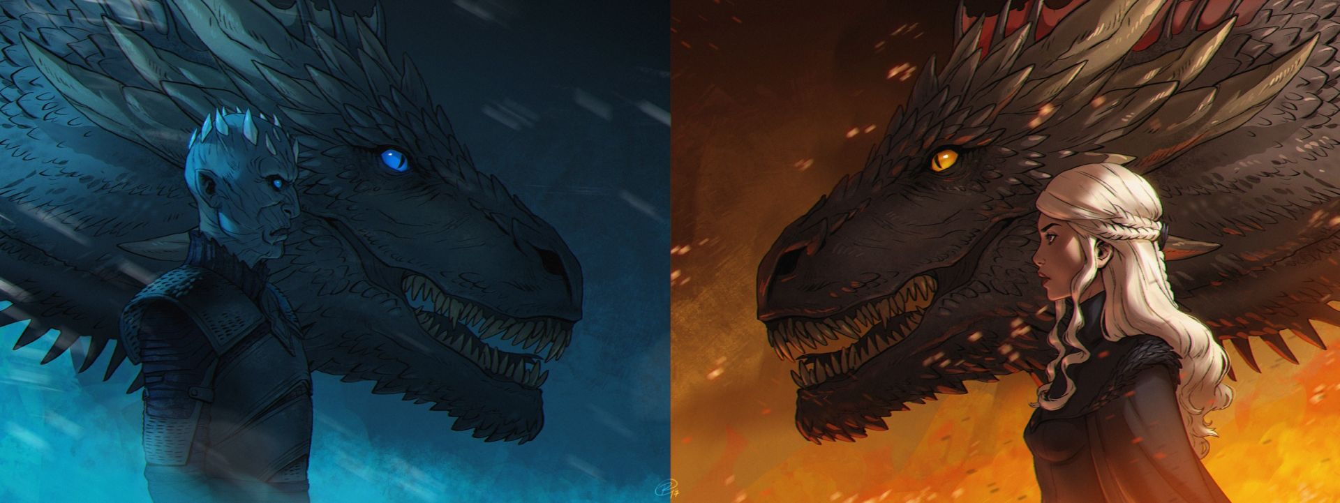Game of Thrones Daenerys and White Walker fan art