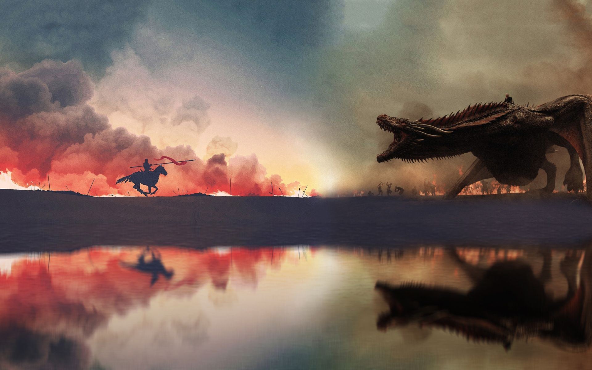 Game of Thrones Jon Snow and Dragon minimal art