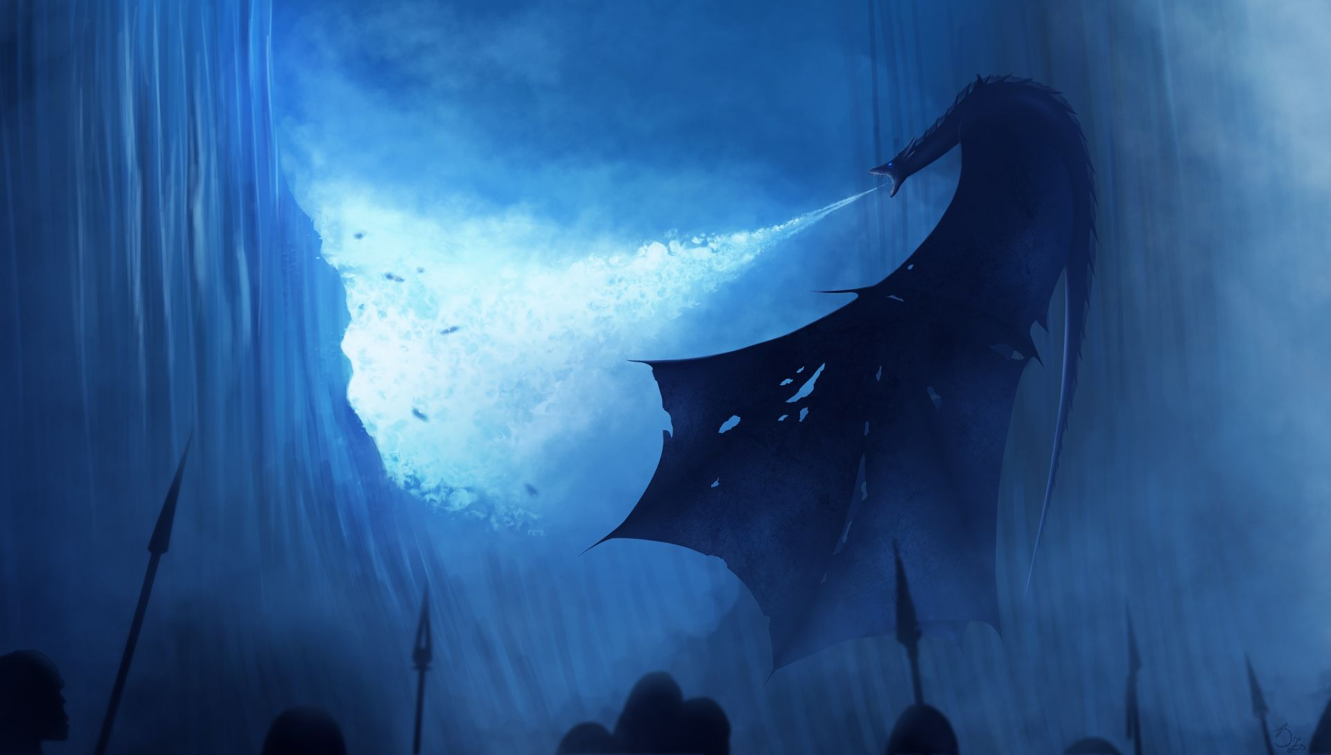 Game of Thrones wall and blue dragon
