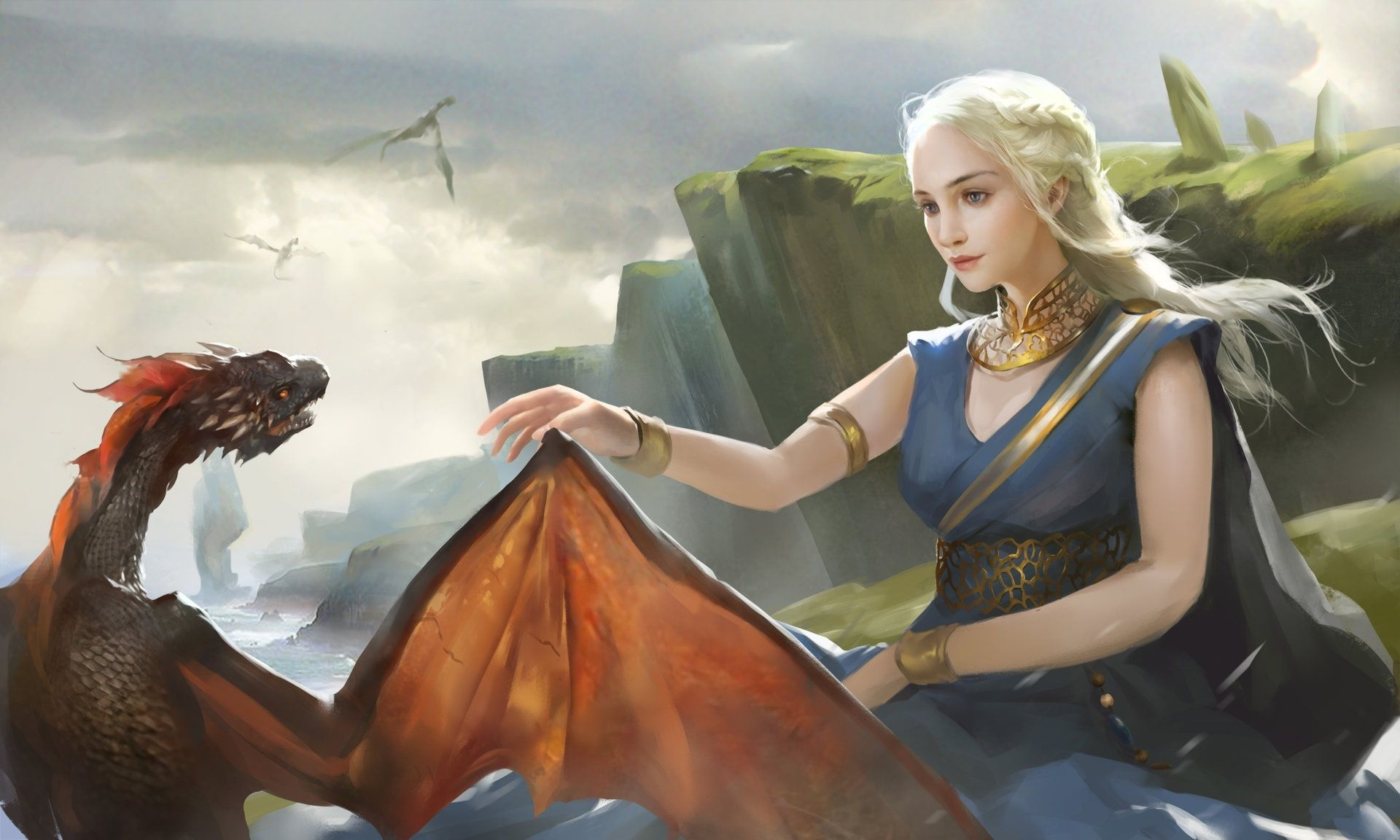 Game of Thrones Daenerys Targaryen and small dragon art