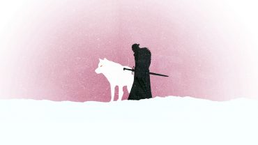 Jon Snow and Wolf, Game of Thrones minimalist