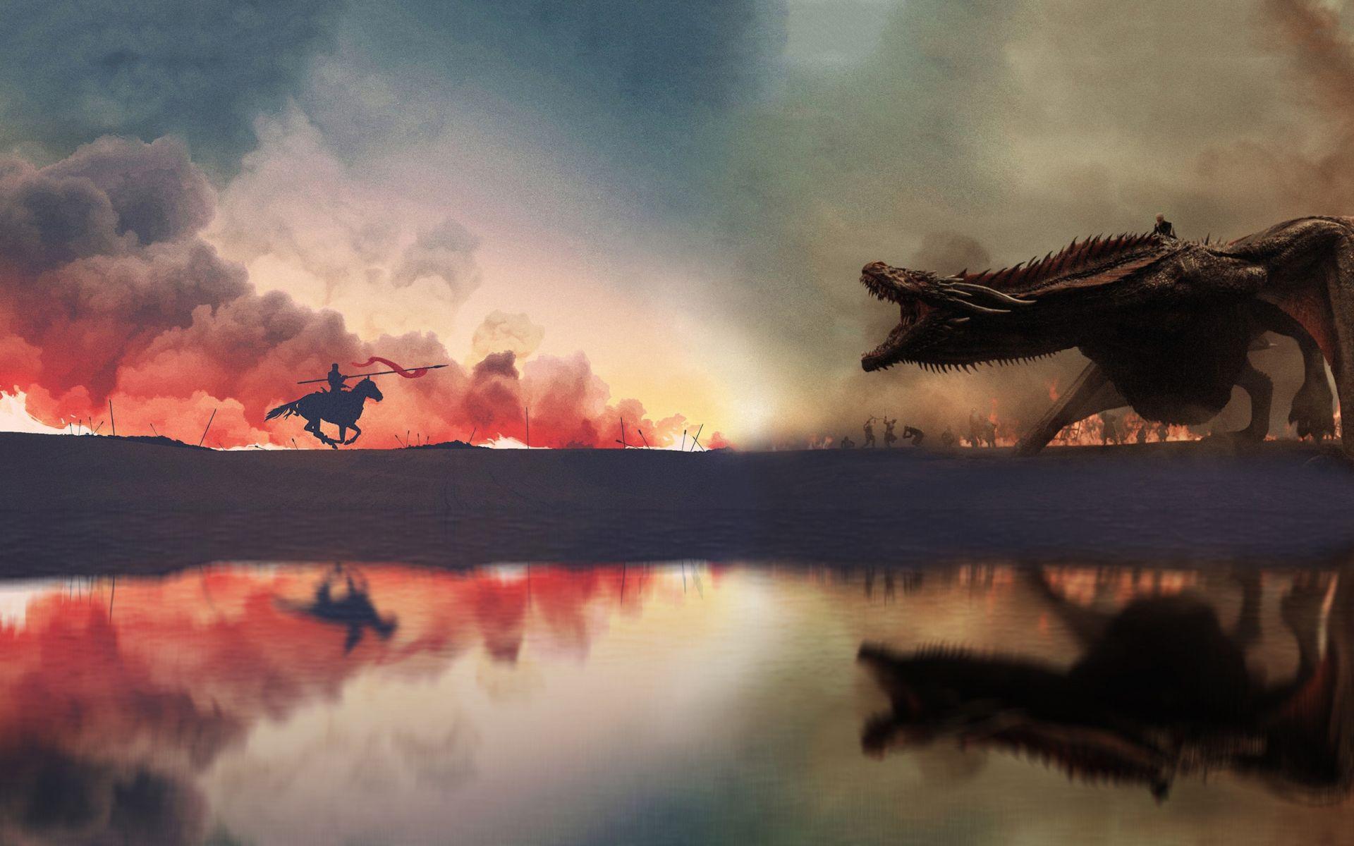 Game of Thrones Horseman and Dragon Minimalist art