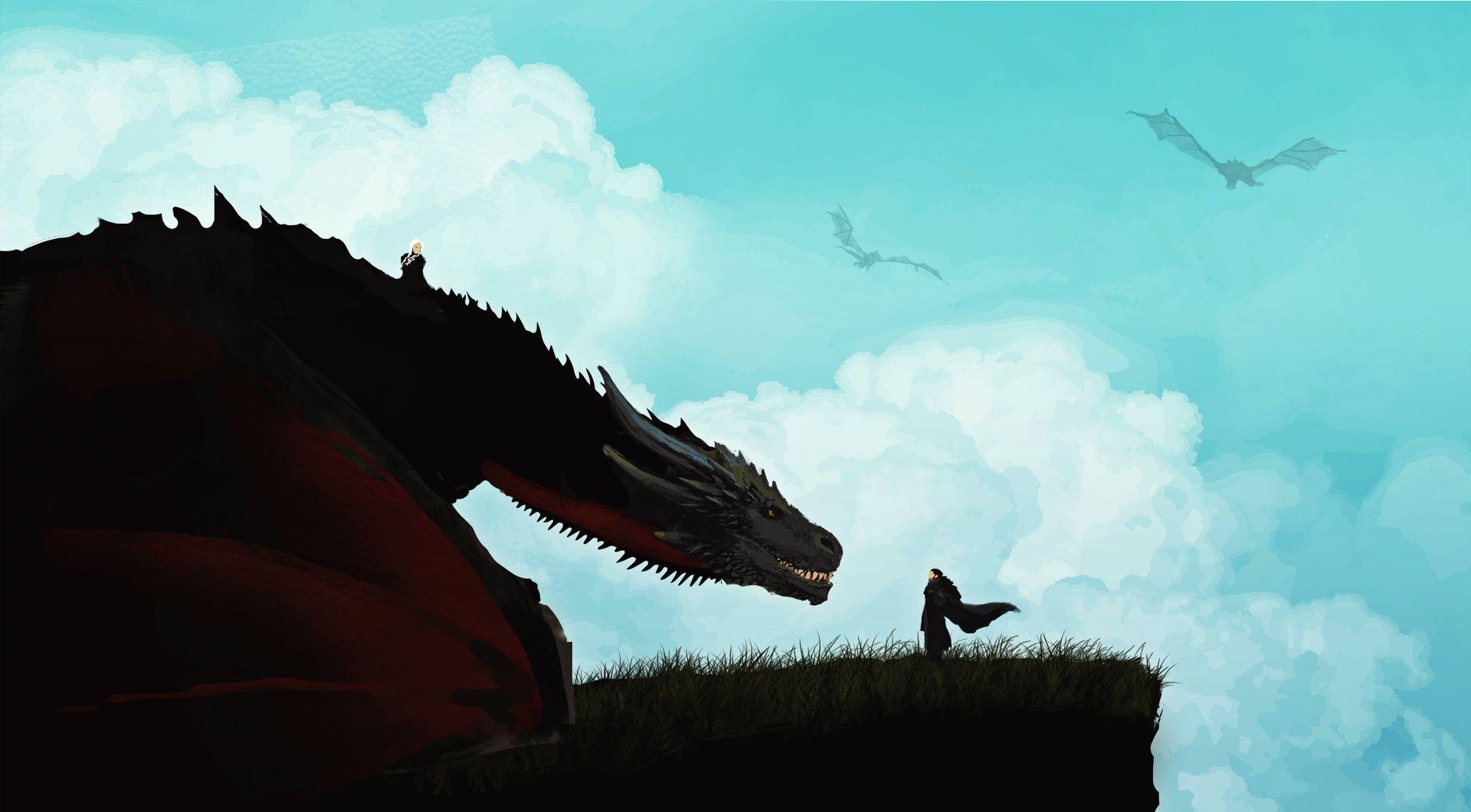 Jon Snow and Dragon art minimalist