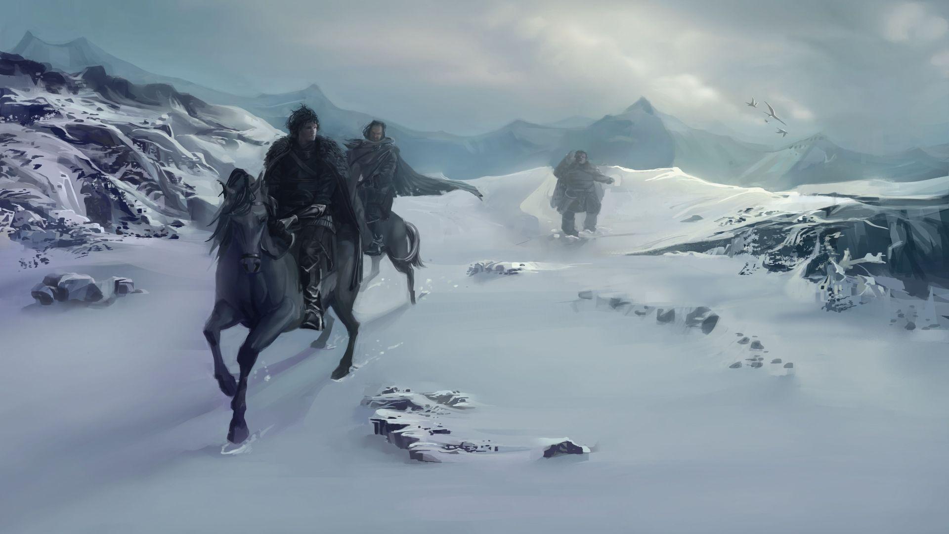 Game of Thrones landscape horsemen art