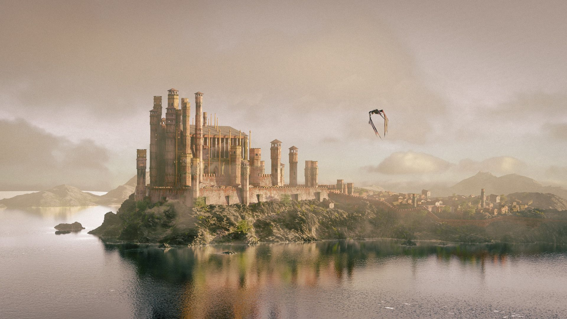 Game of Thrones landscape astle and dragon