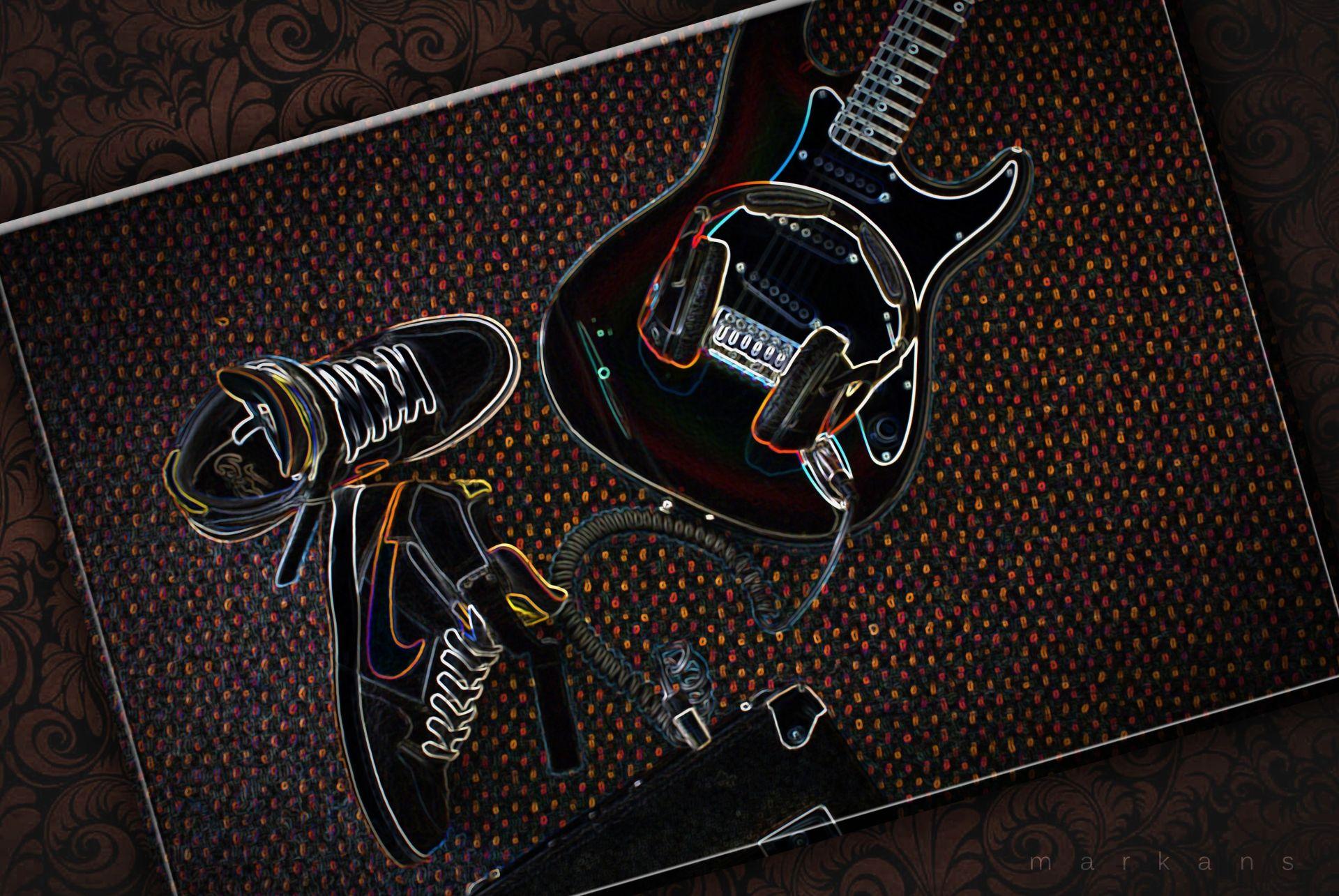 Guitar Abstract, Cool Wallpaper