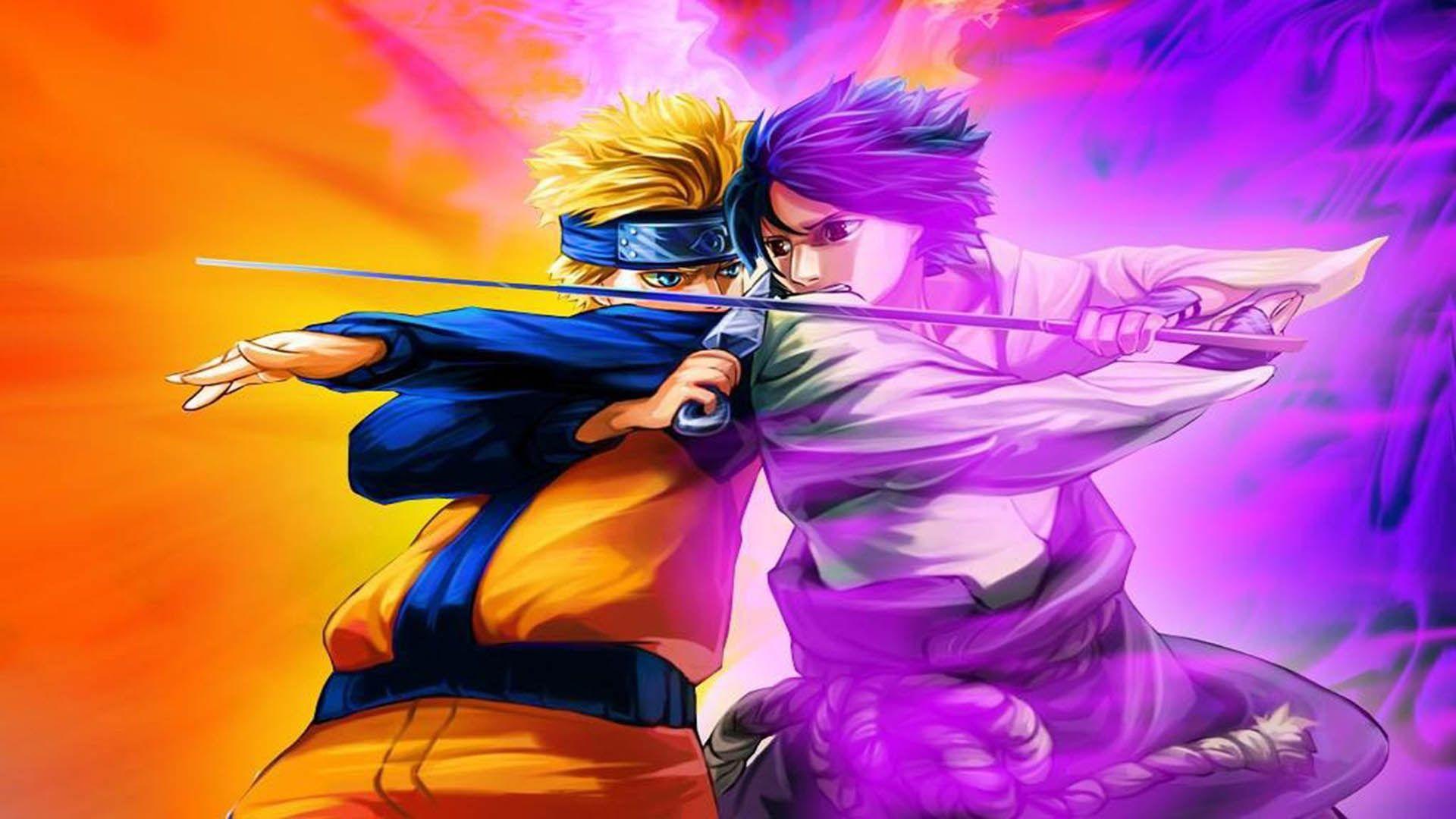 Naruto and Sasuke, Computer Wallpaper