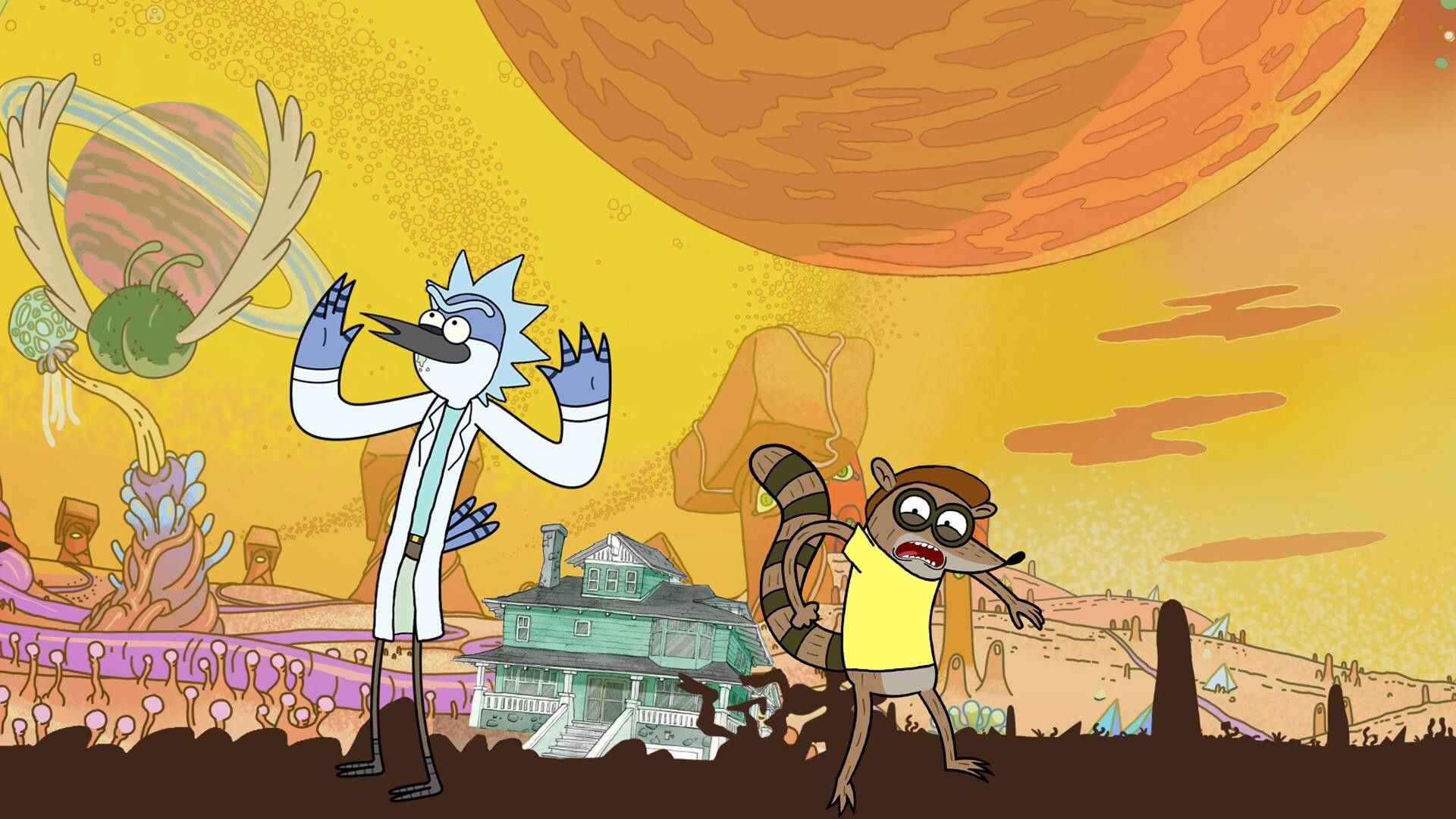 Rick and Morty Trippy Regular Show wallpaper