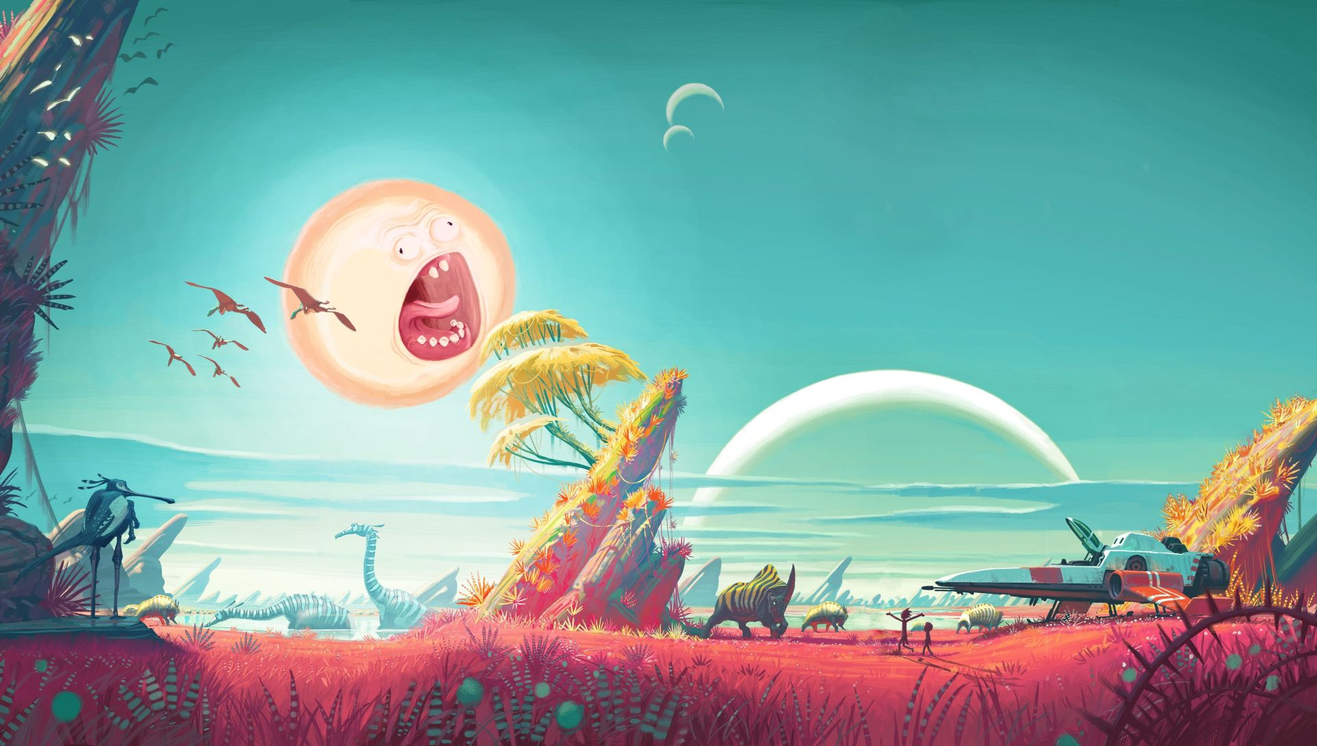Rick and Morty Screaming Sun wallpaper