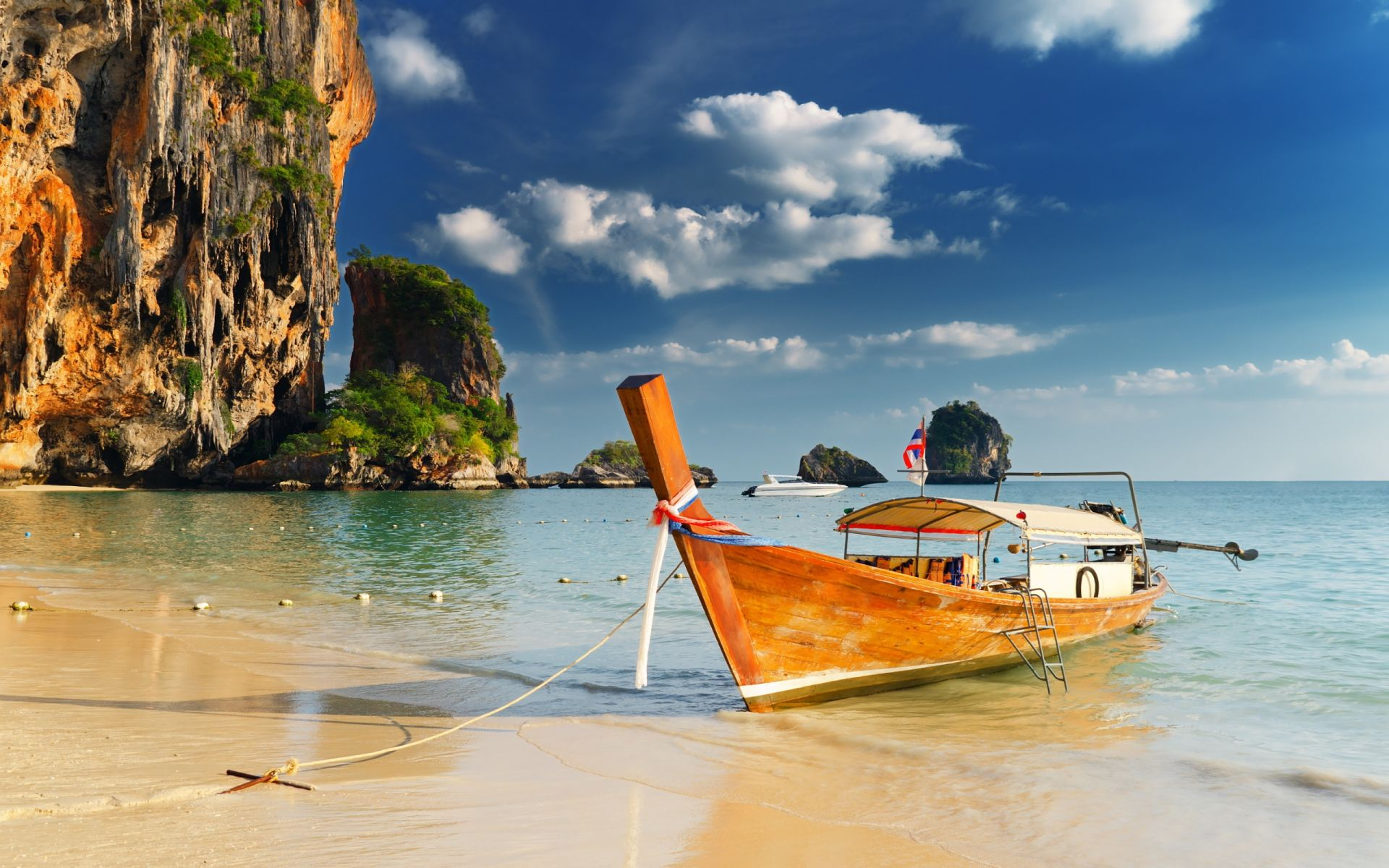 nature beach with boat, beautiful blue sky